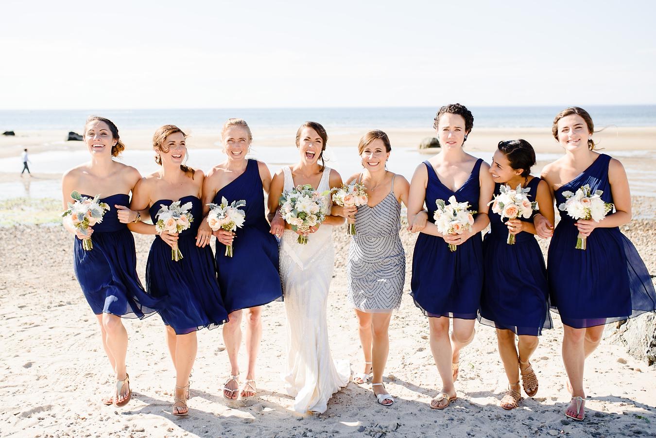bridesmaids at the beach in cape cod