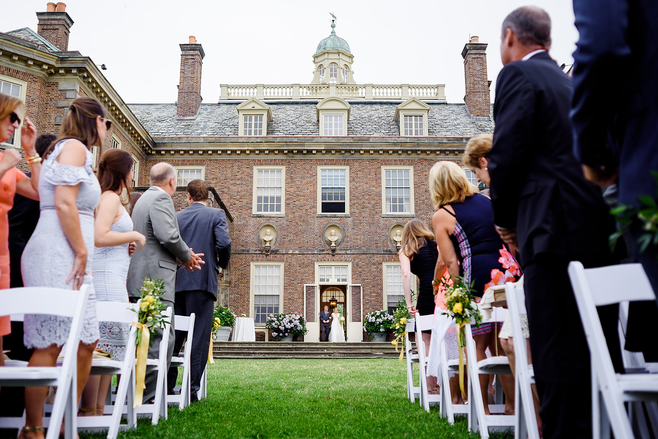 walking down the aisle at the crane estate in ipswich ma