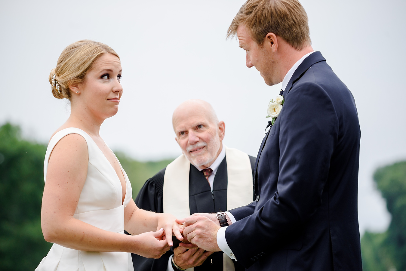 outdoor classic wedding ceremony at the crane estate in ipswich ma