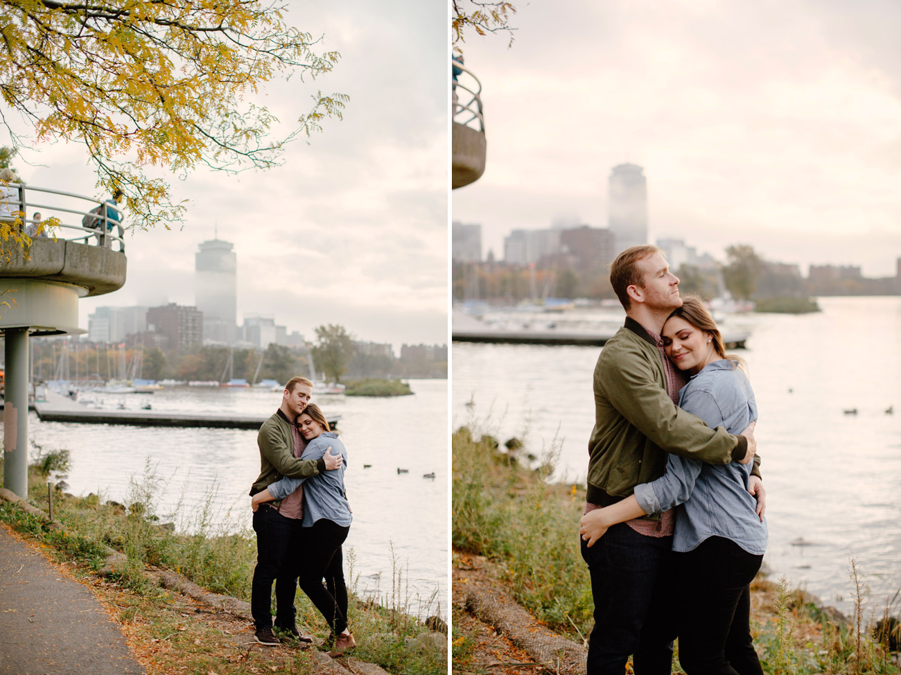 engagement photos with boston skyline views fine art weddings