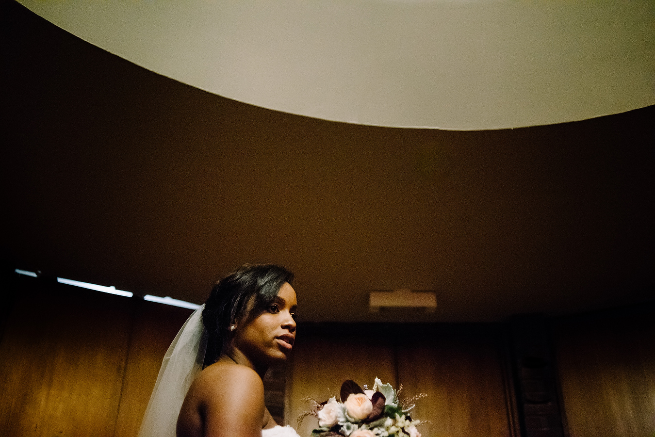 bride waiting to walk down the aisle at MIT CHAPEL