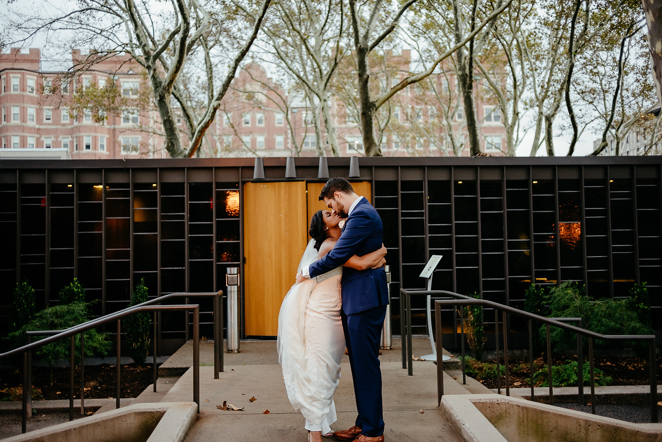 coupe just married at the MIT chapel outside