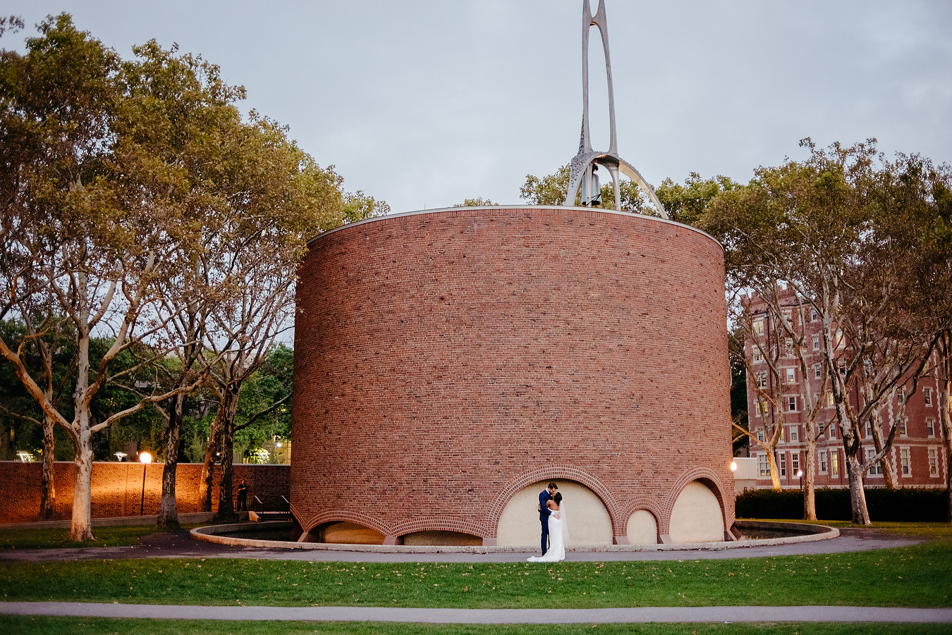 outside the MIT CHAPEL wedding portraits and inspiration