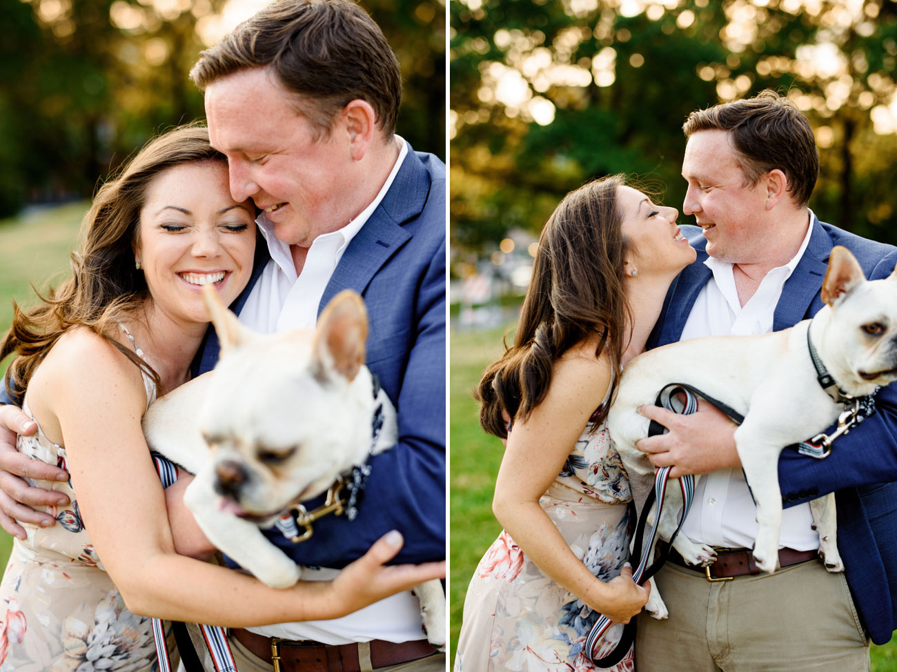 lifestyle and fun engagement photos with the dog