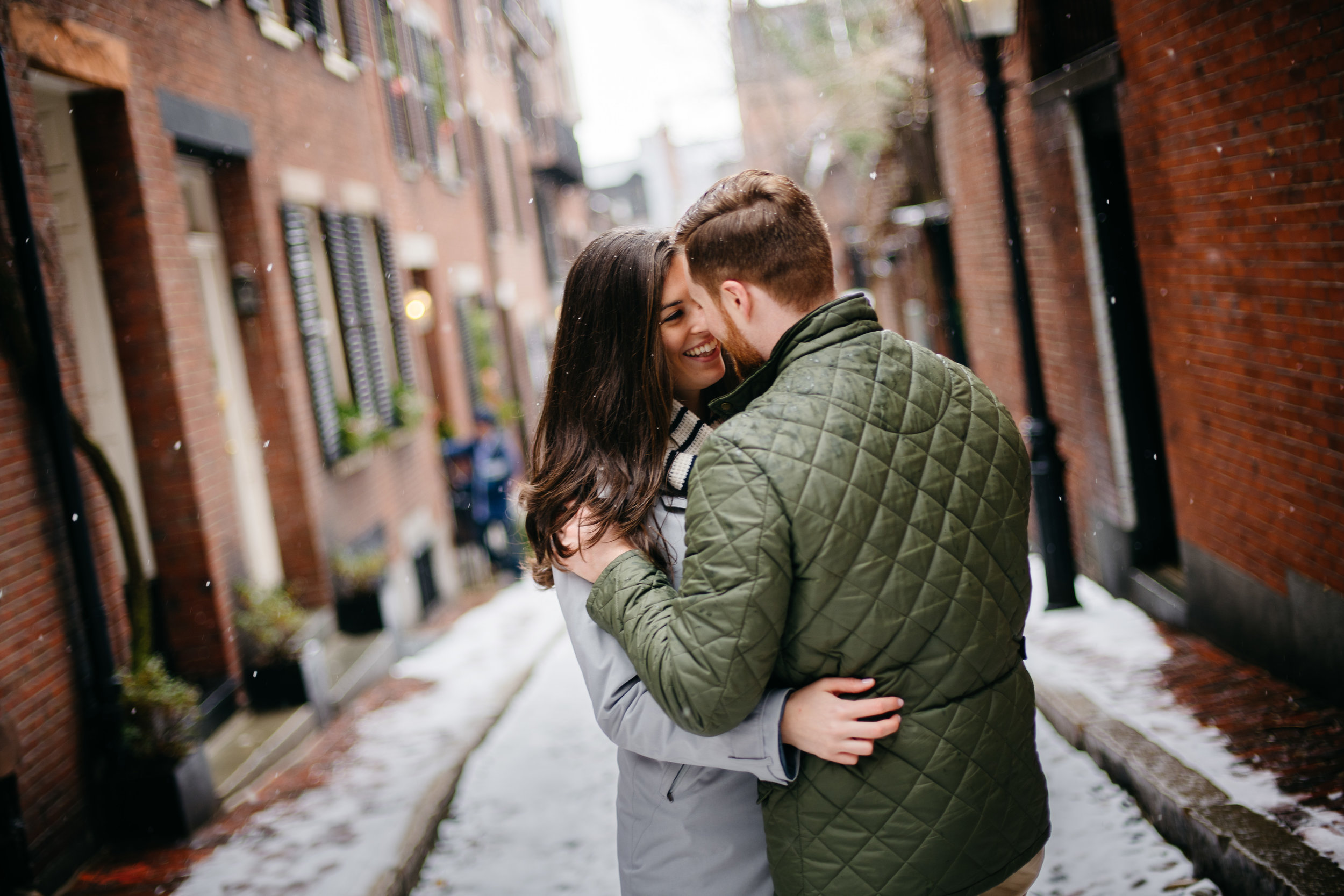 boston's prettiest streets for winter engagement photos