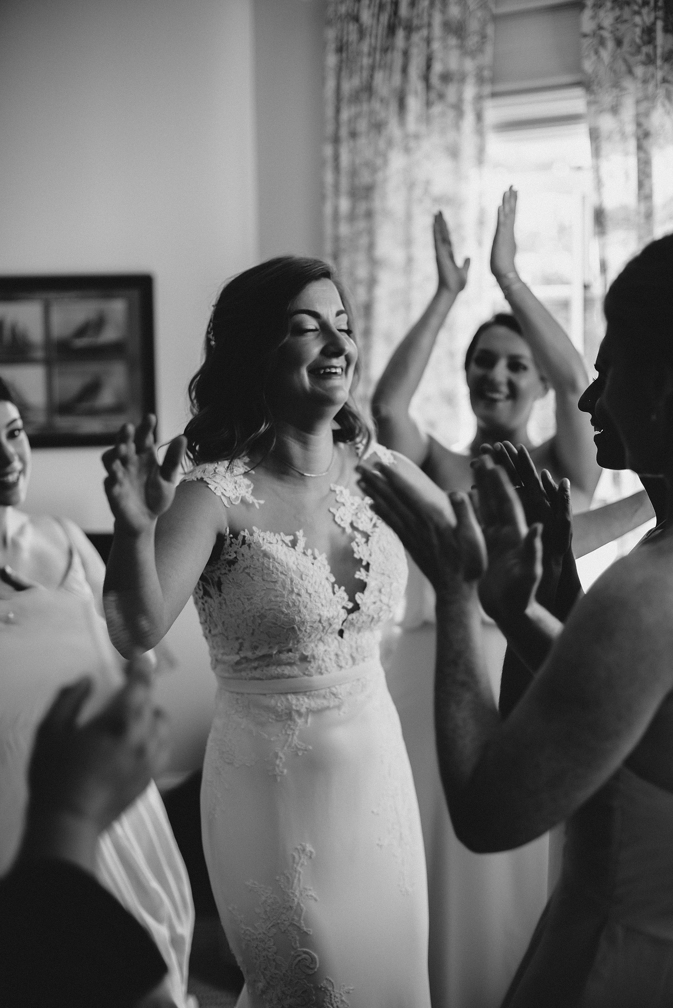 eastern yacht club bride getting ready and having a candid moment