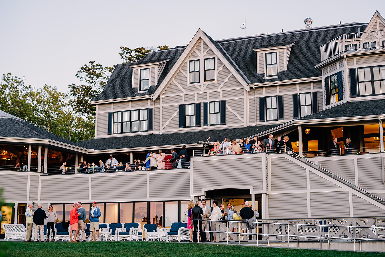 wedding reception and cocktail hour at eastern yacht club