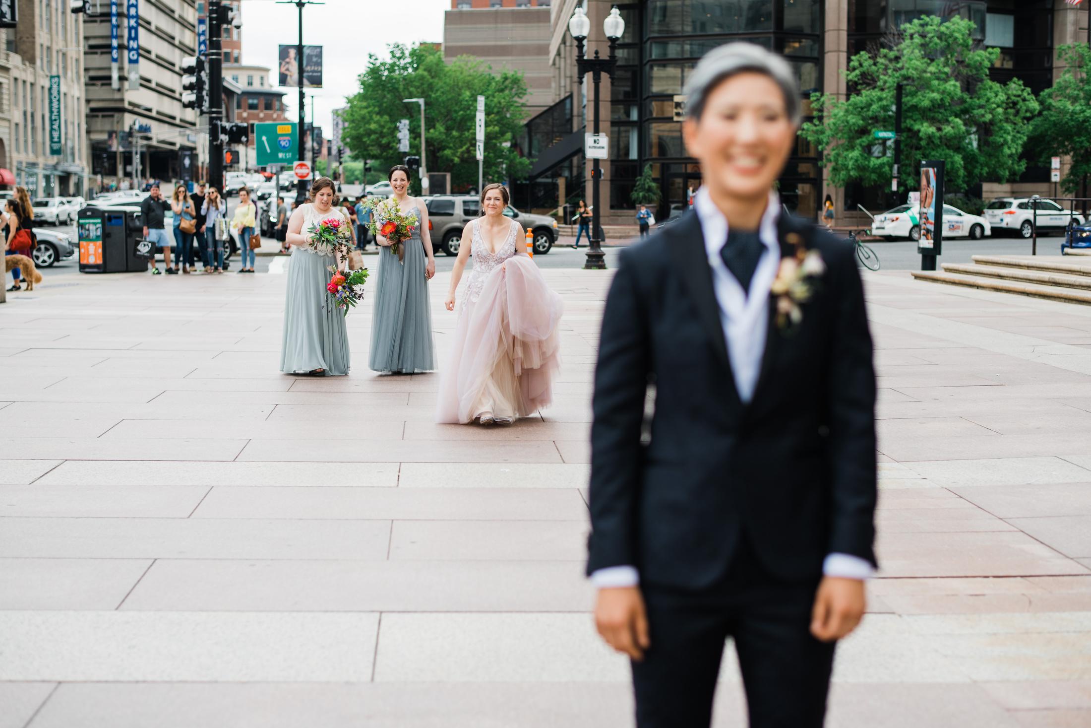 first look with both brides same-sex boston wedding photos