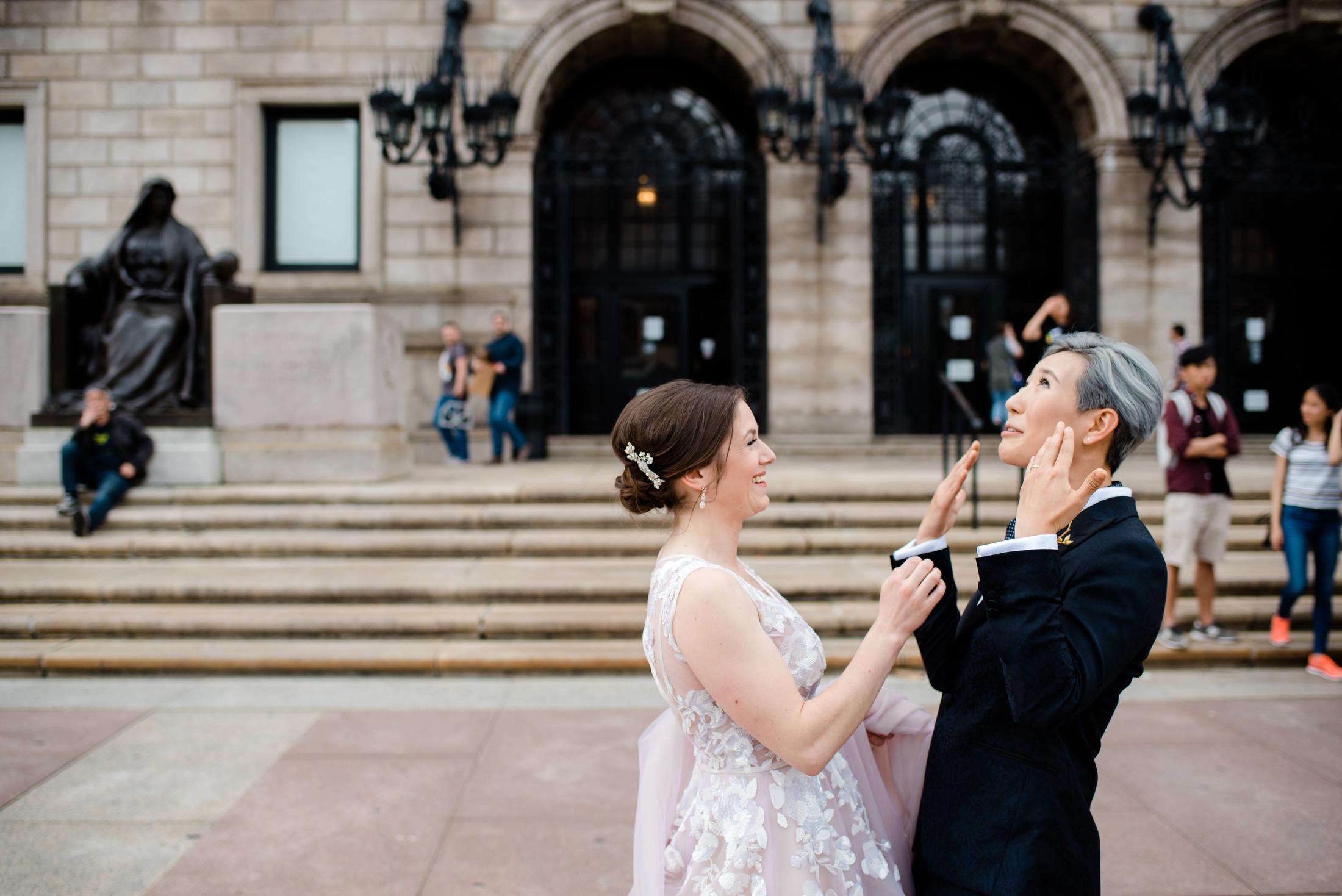 emotional boston public library same sex gay wedding