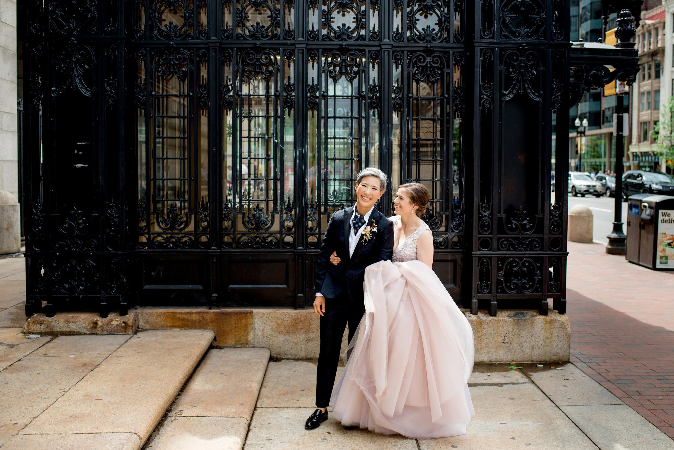 boston public library same-sex wedding portraits