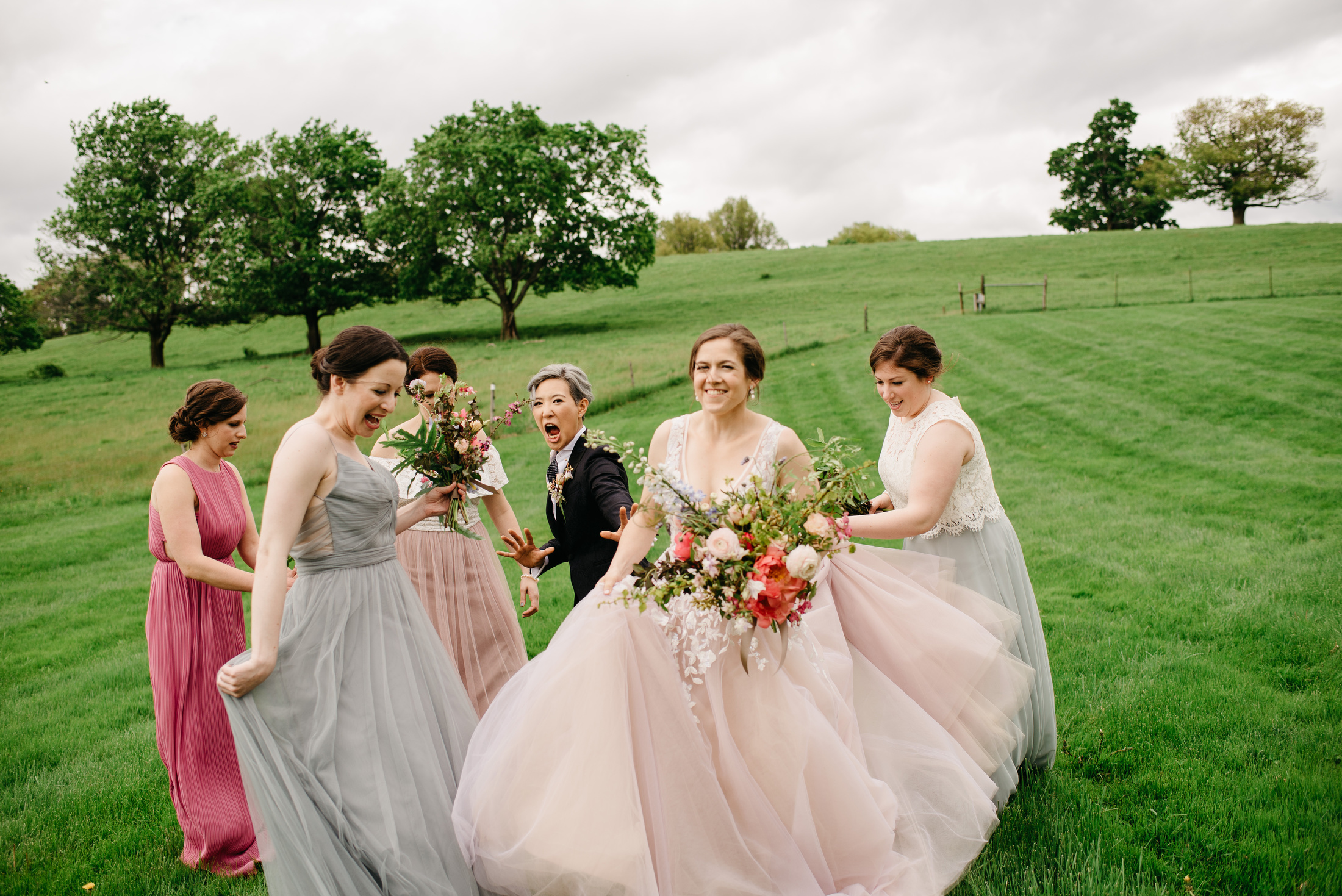 fun wedding party moments at the barn at gibbet hill