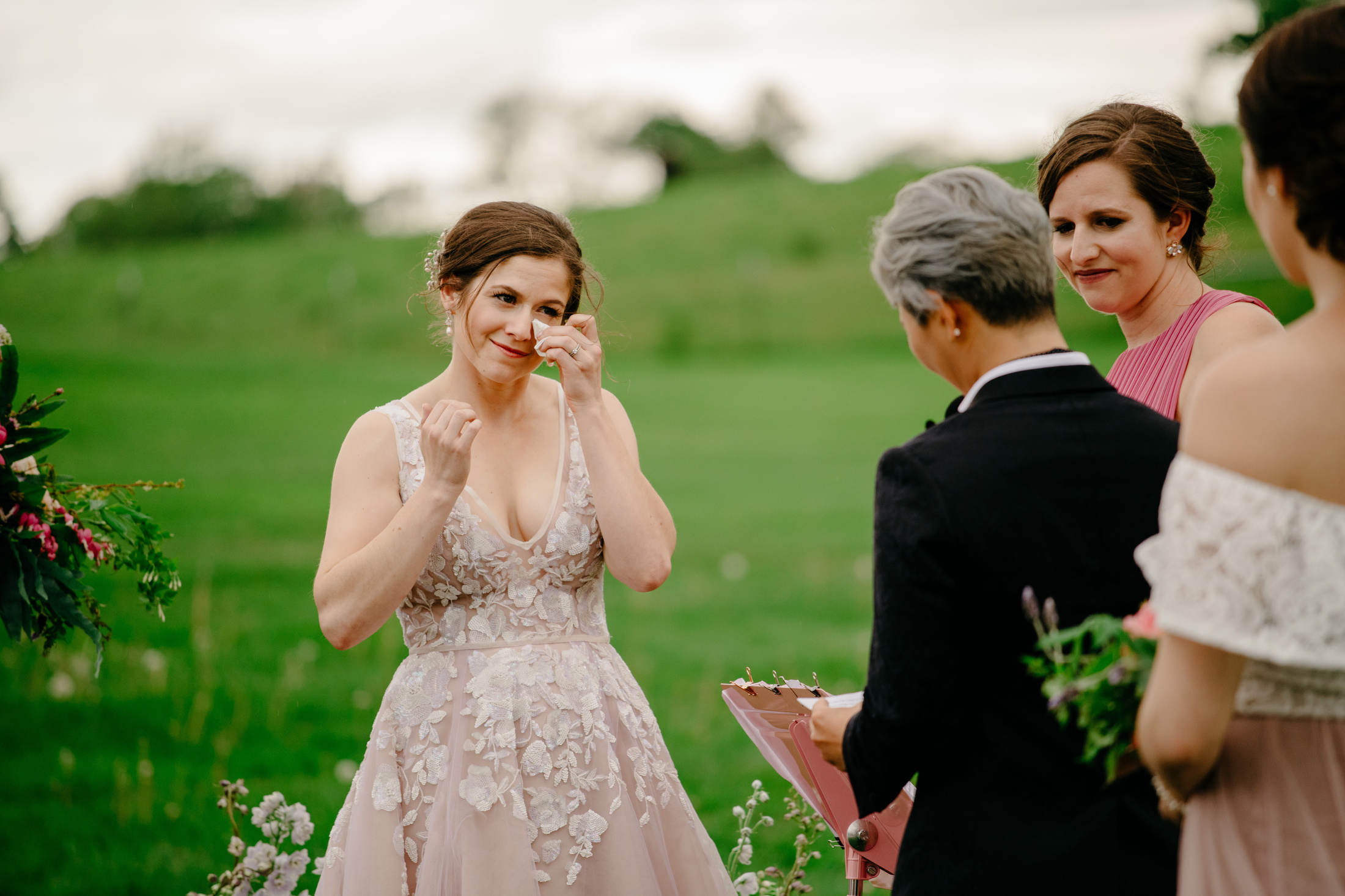 sweet and emotional wedding moments at gibbet hill barn in groton during the ceremony