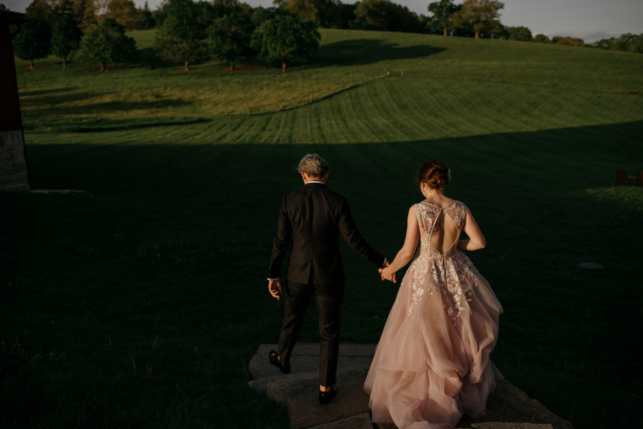 vogue style editorial wedding with same sex couple in a new england private wedding