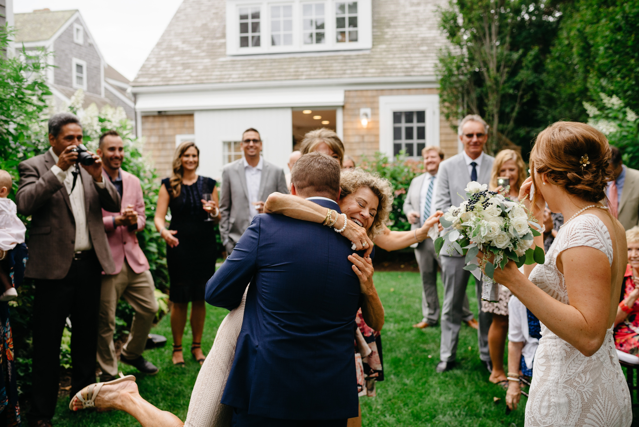 candid nantucket island moments at a wedding