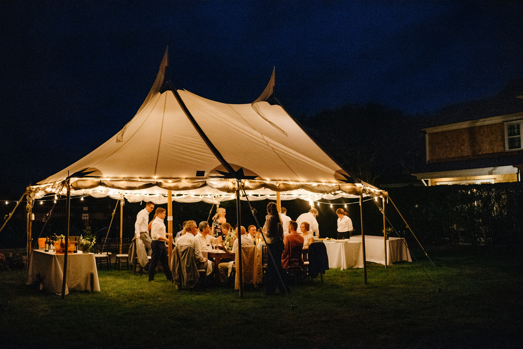 nantucket island destination night wedding tent