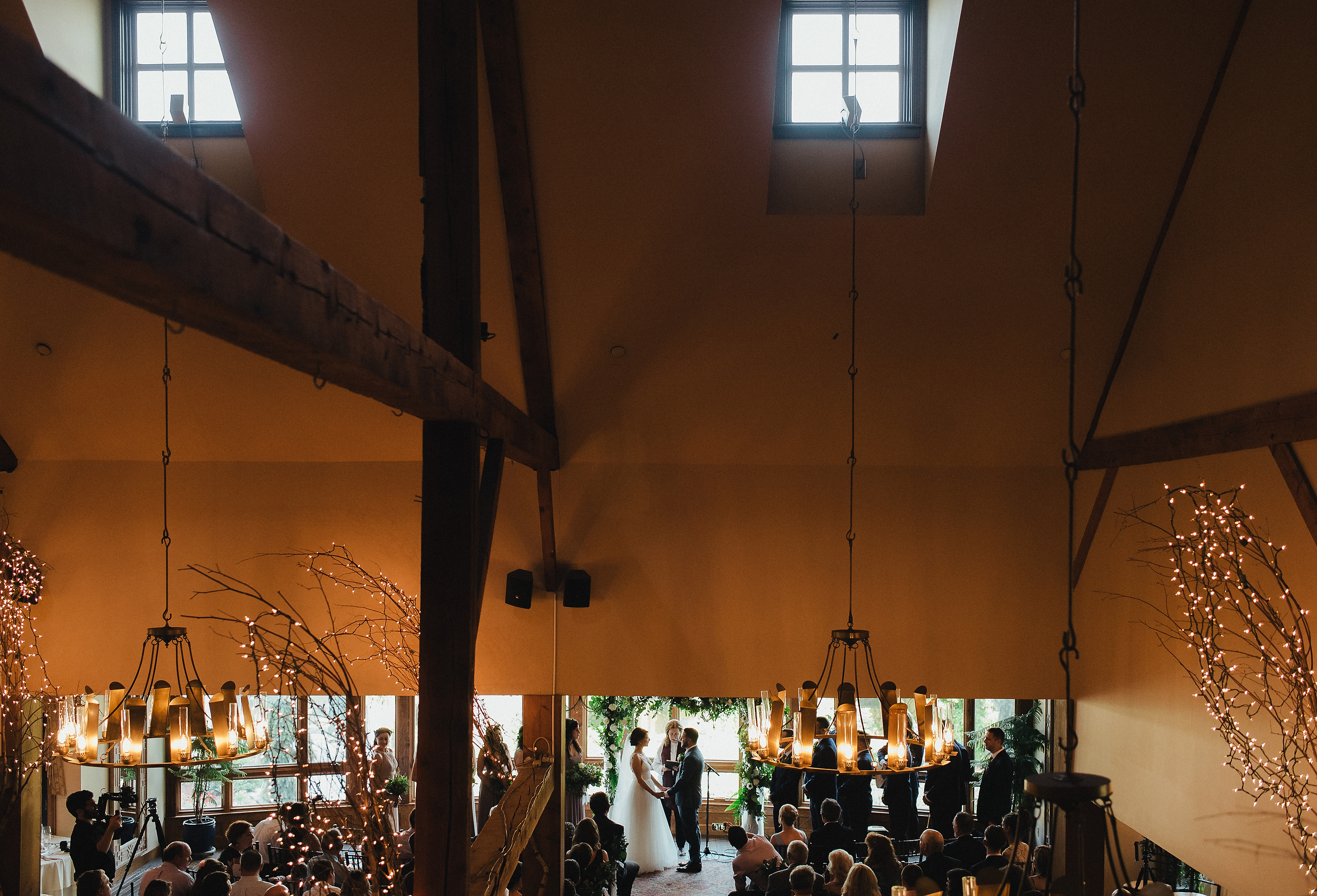 ceremony inside the bedford village inn with details