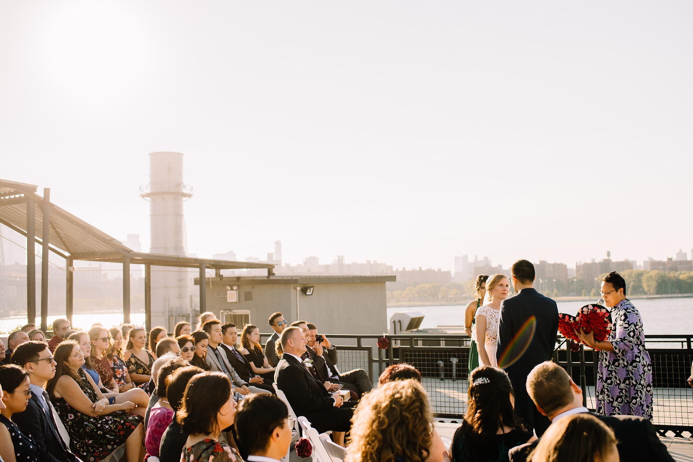brooklyn bridge views from wedding ceremony