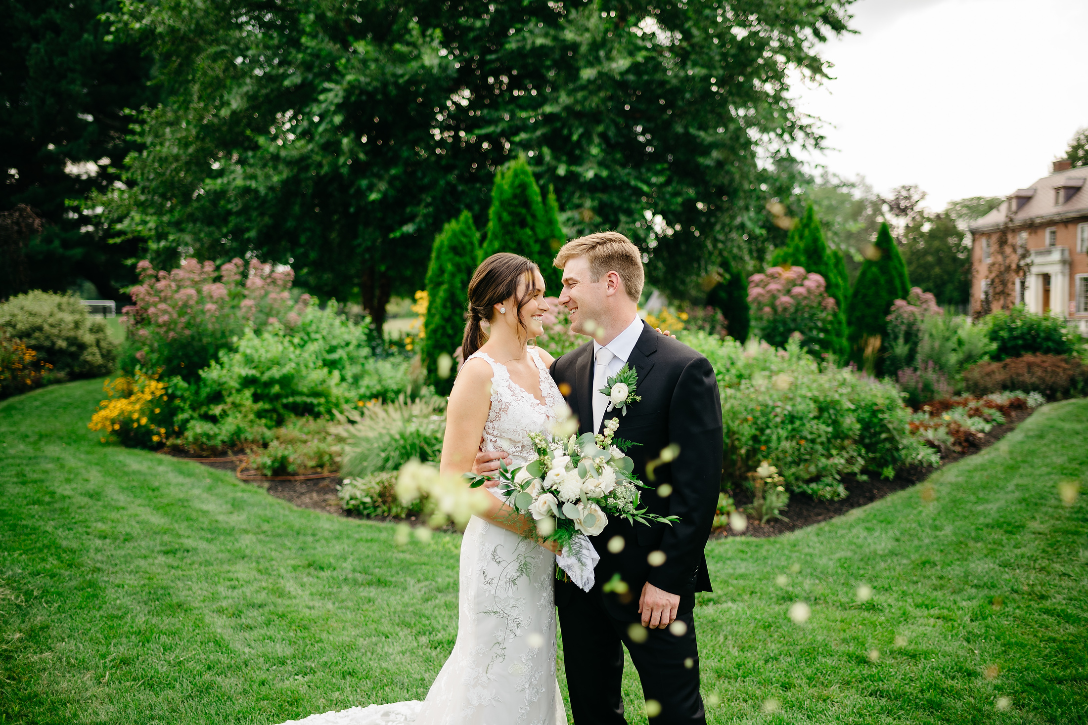 creative garden wedding portrait at elm banks