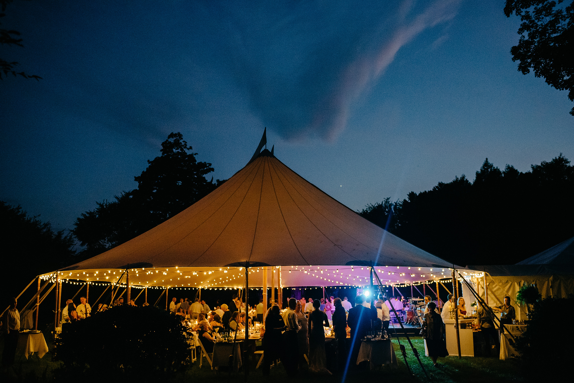 tent photo at night at elm banks wedding venue