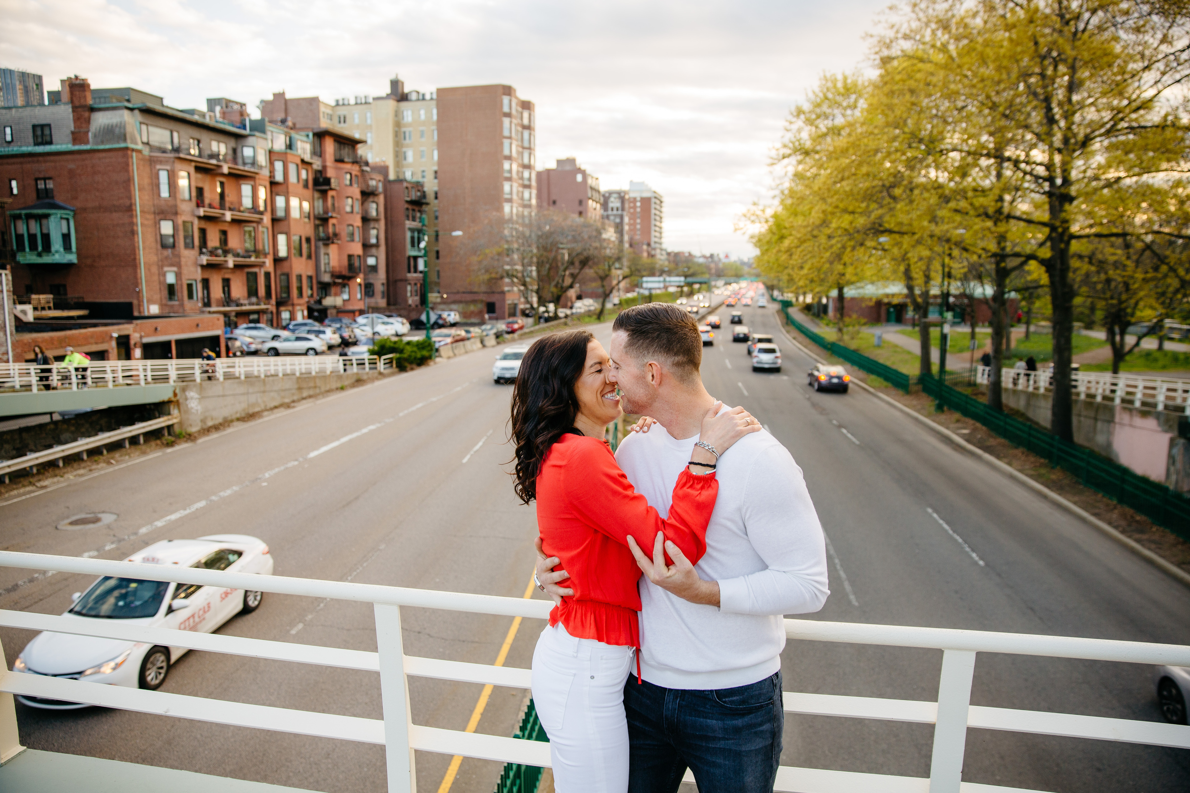 creative and fun boston engagement session with views of fenway