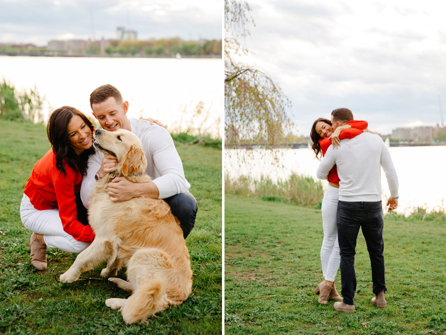 fun couple with their dog in boston engagement photos