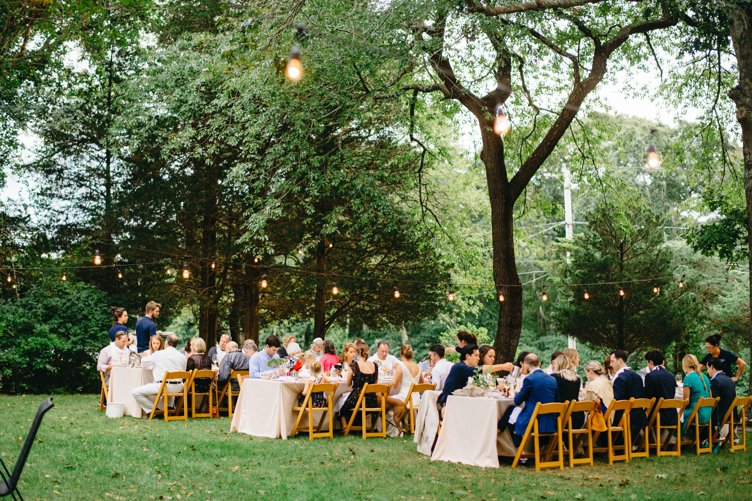 incredible garden wedding with string lights cheese board and wooden chairs in cape cod