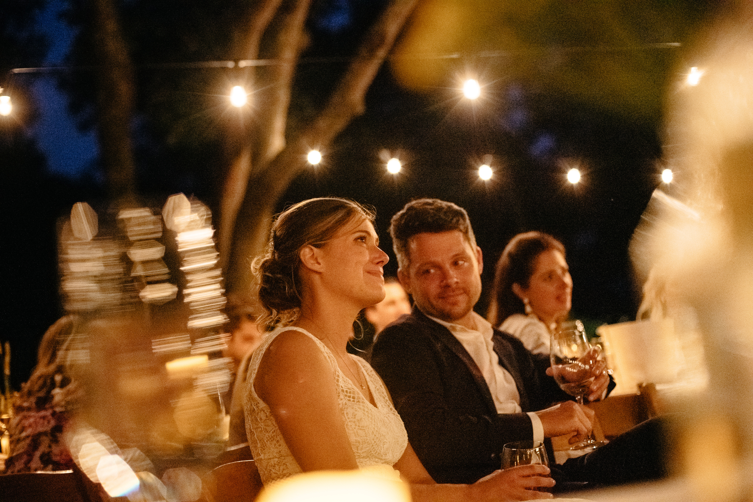 night wedding moments with bride and groom at their private backyard wedding