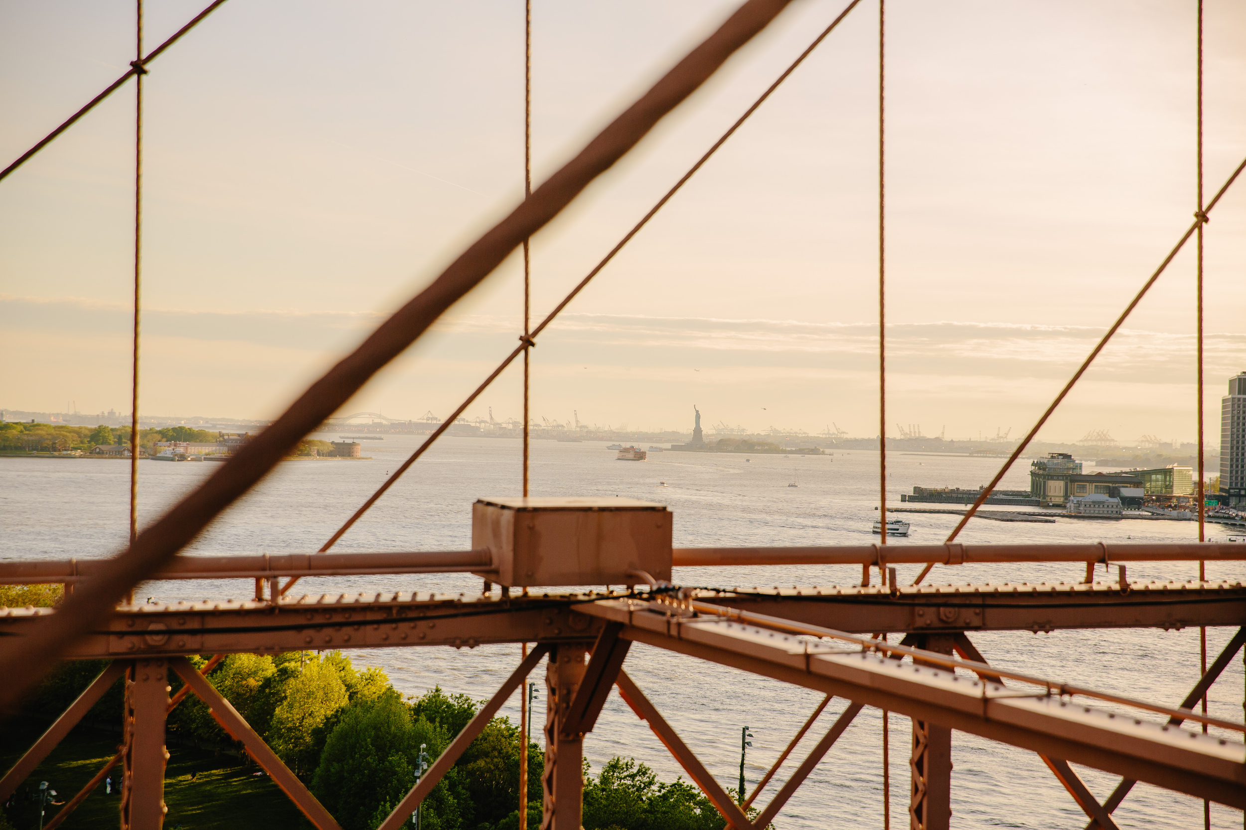 views of the statue of liberty from the brooklyn bridge engagement session locations
