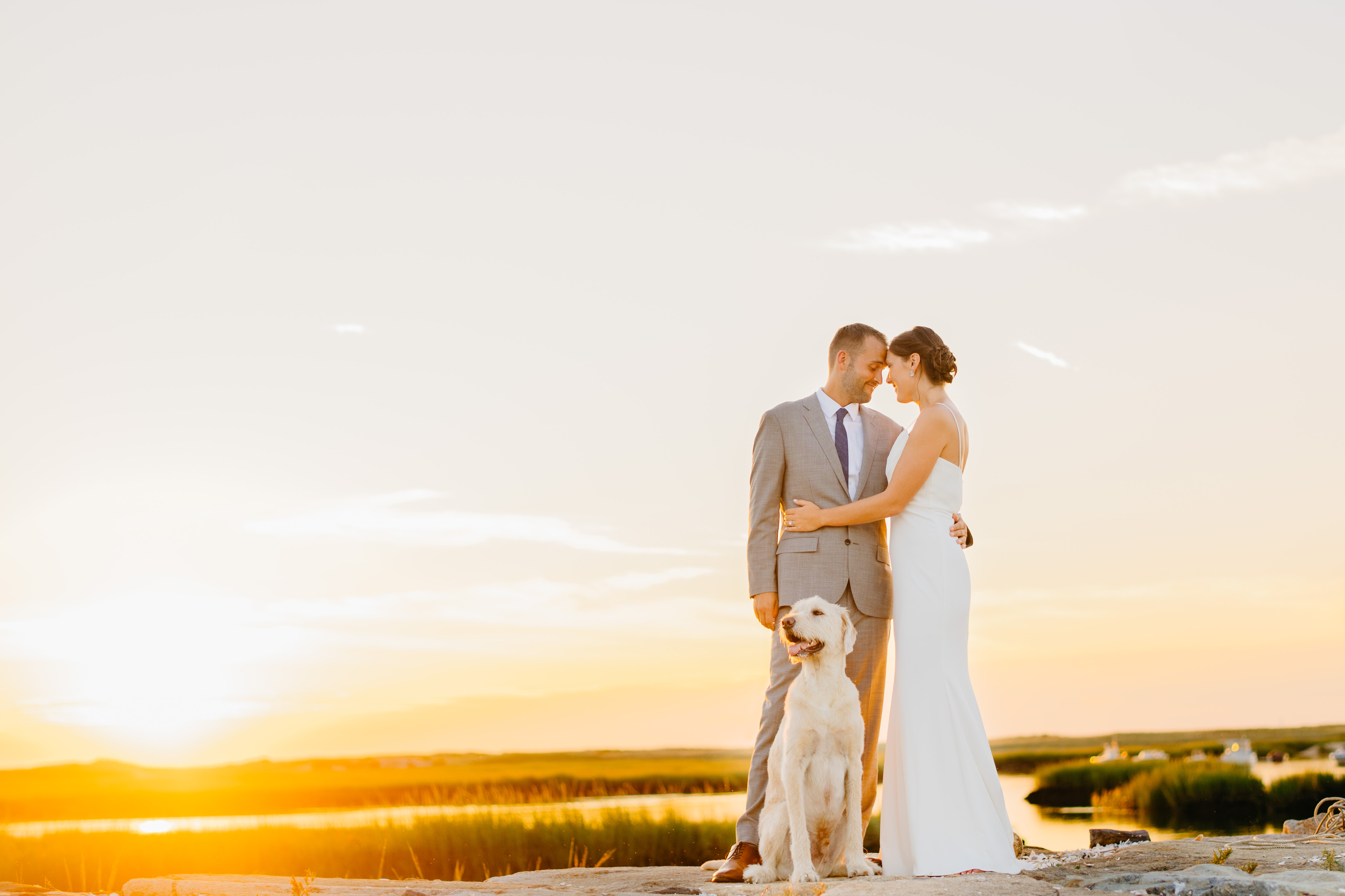 sunset portrait of bride and groom holding each other with dog in truro and dennis inn, chatham sunset weddings