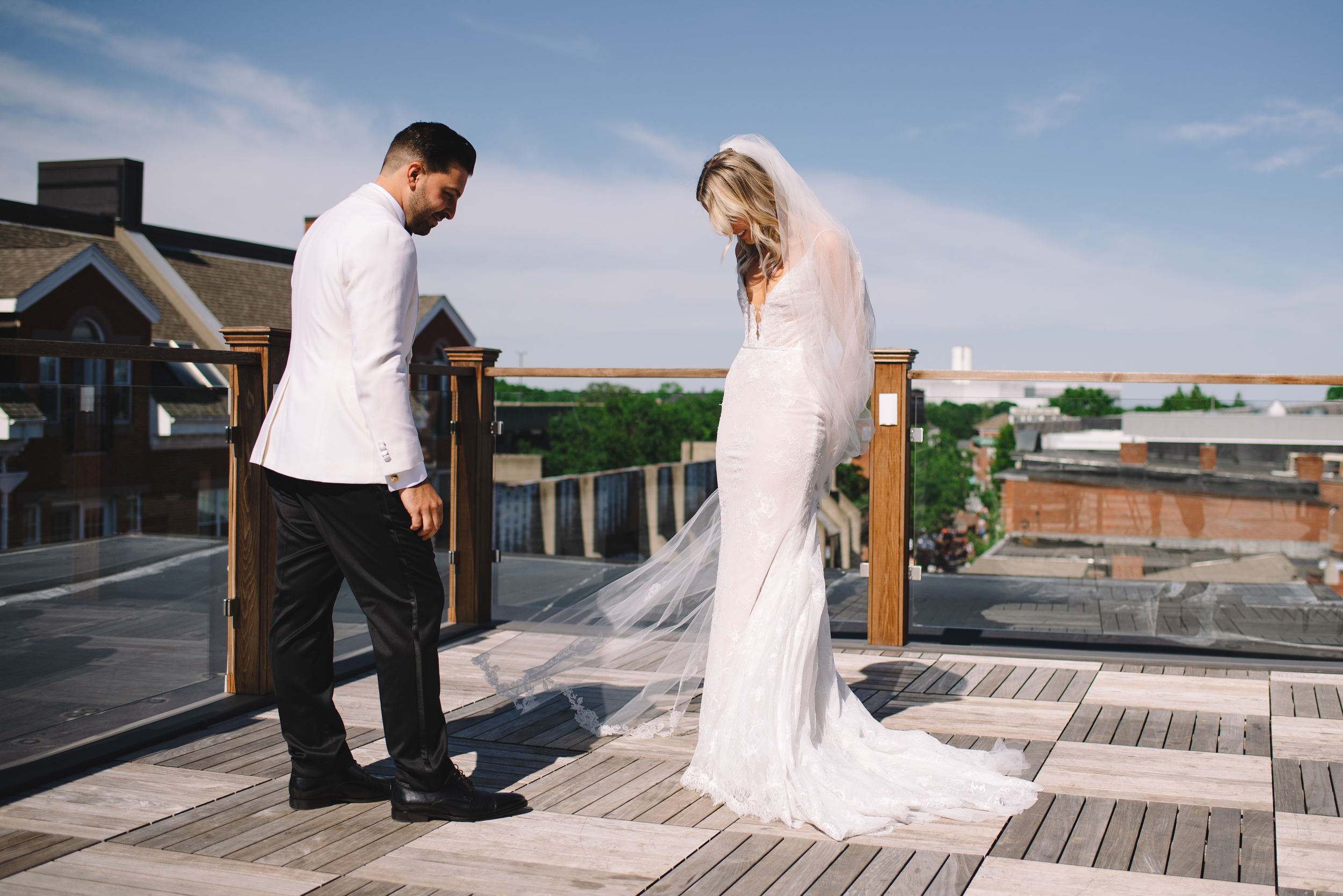 stylish and cool first look on a roof top in salem  boston wedding