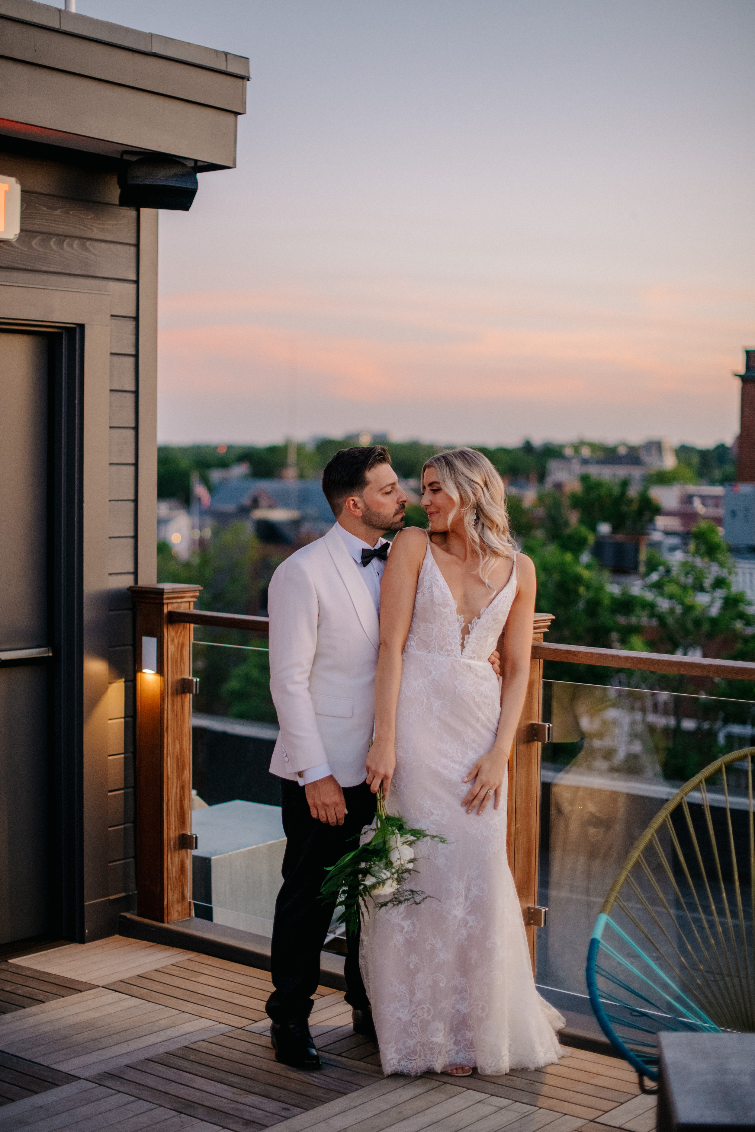 epic roof top sunset locations in boston and seaport for wedding couples