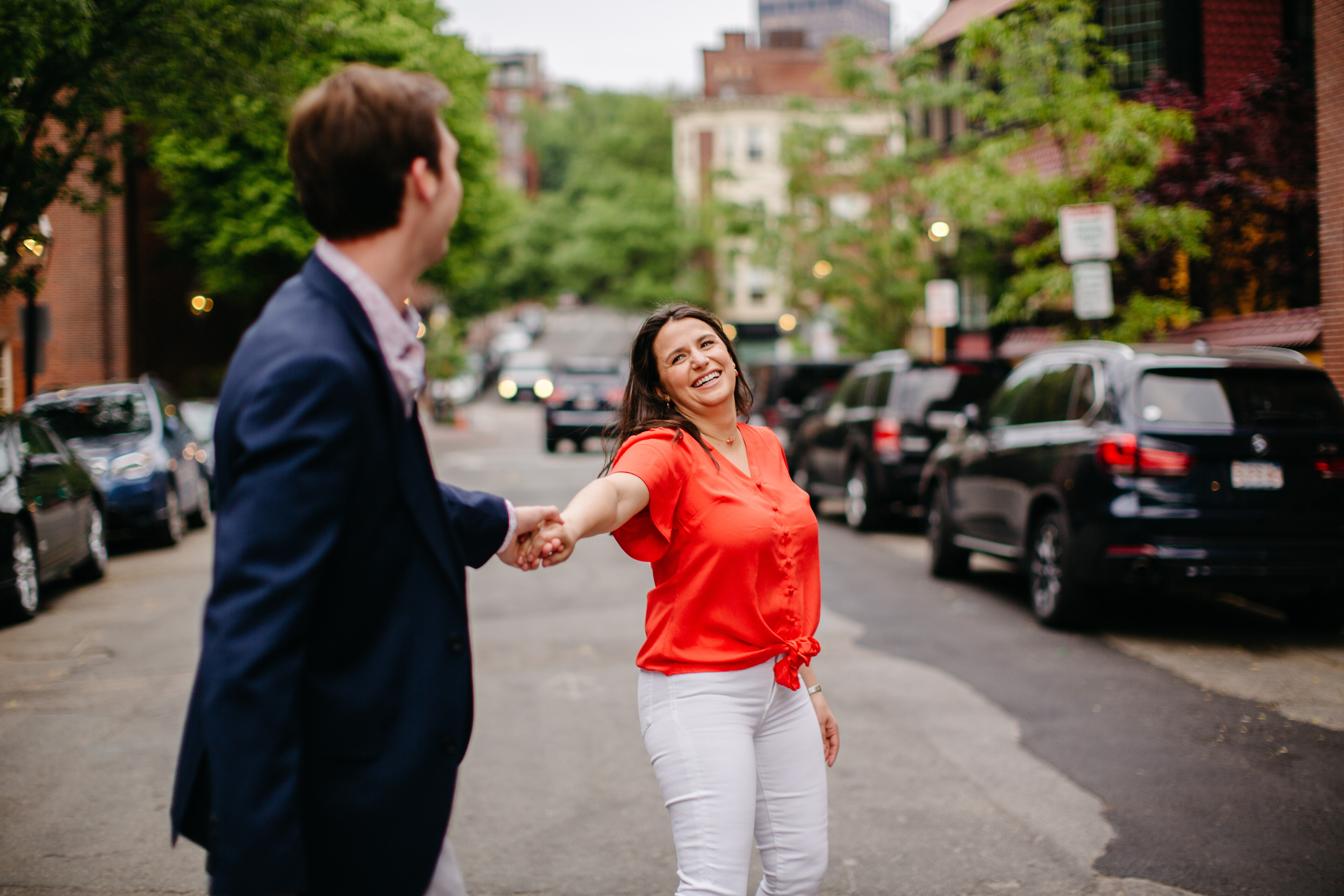 fun engagement session in the streets of boston