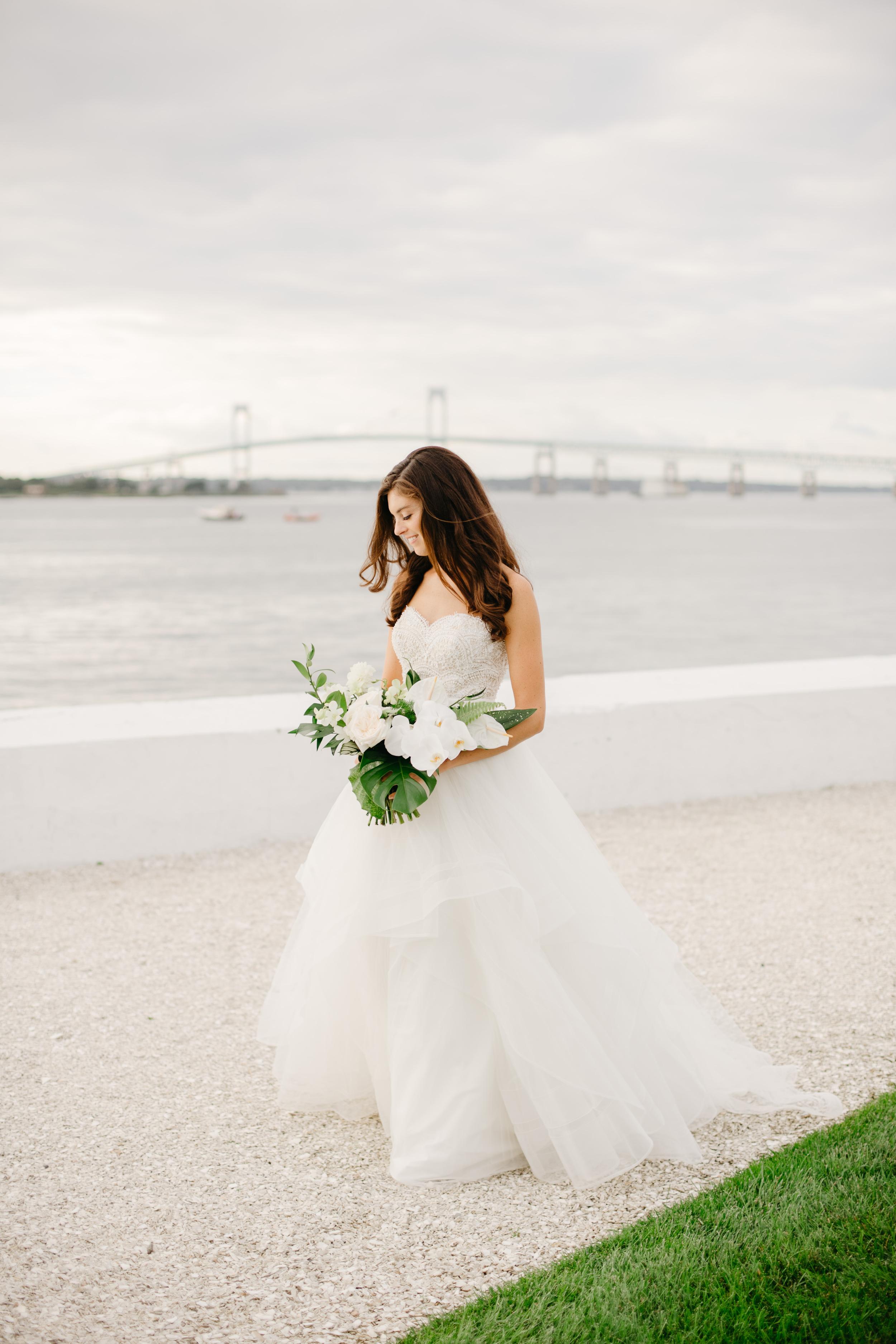stunning film portrait of vogue celebrity bride in newport wedding