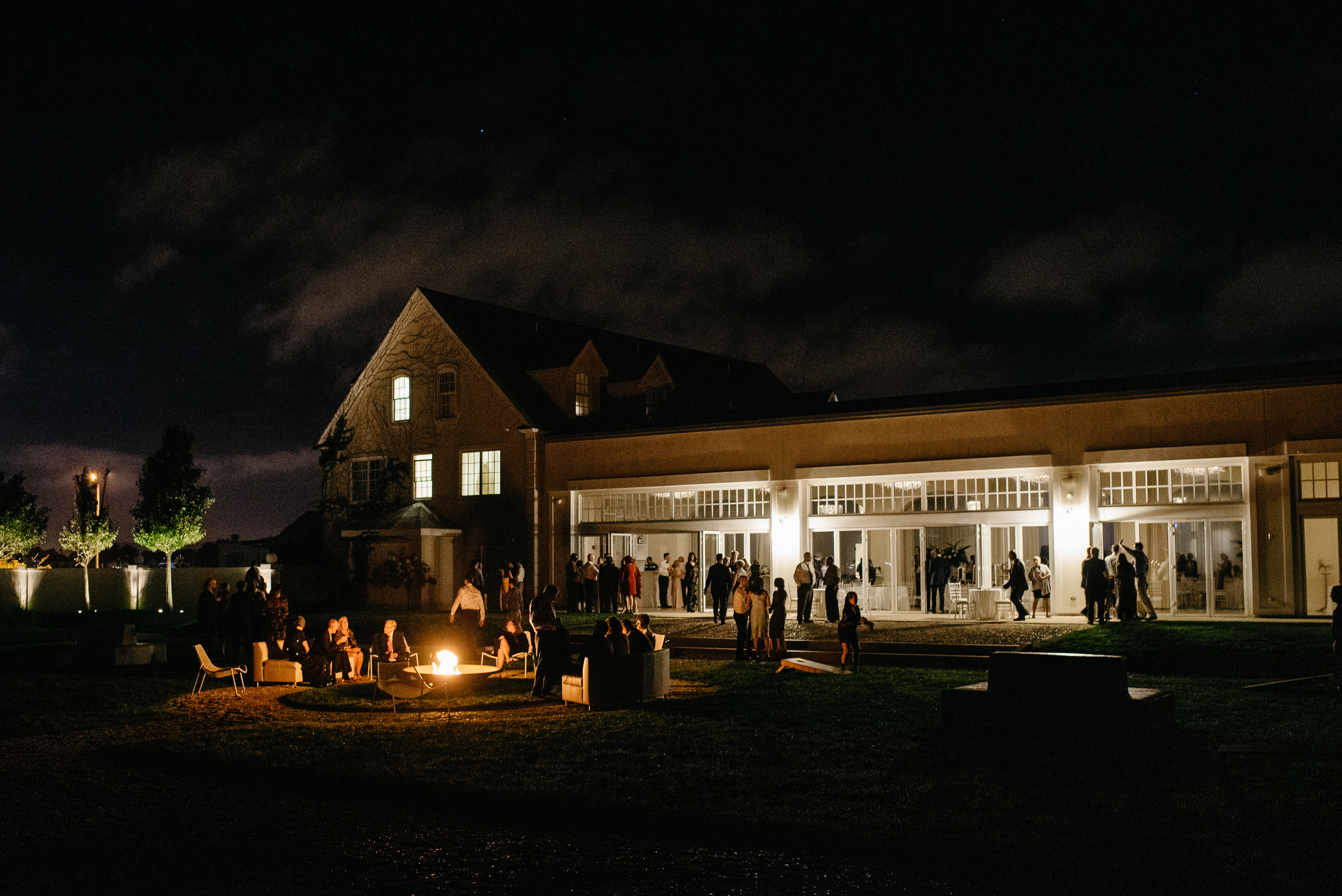 Belle Mer wedding venue at night with fire pit