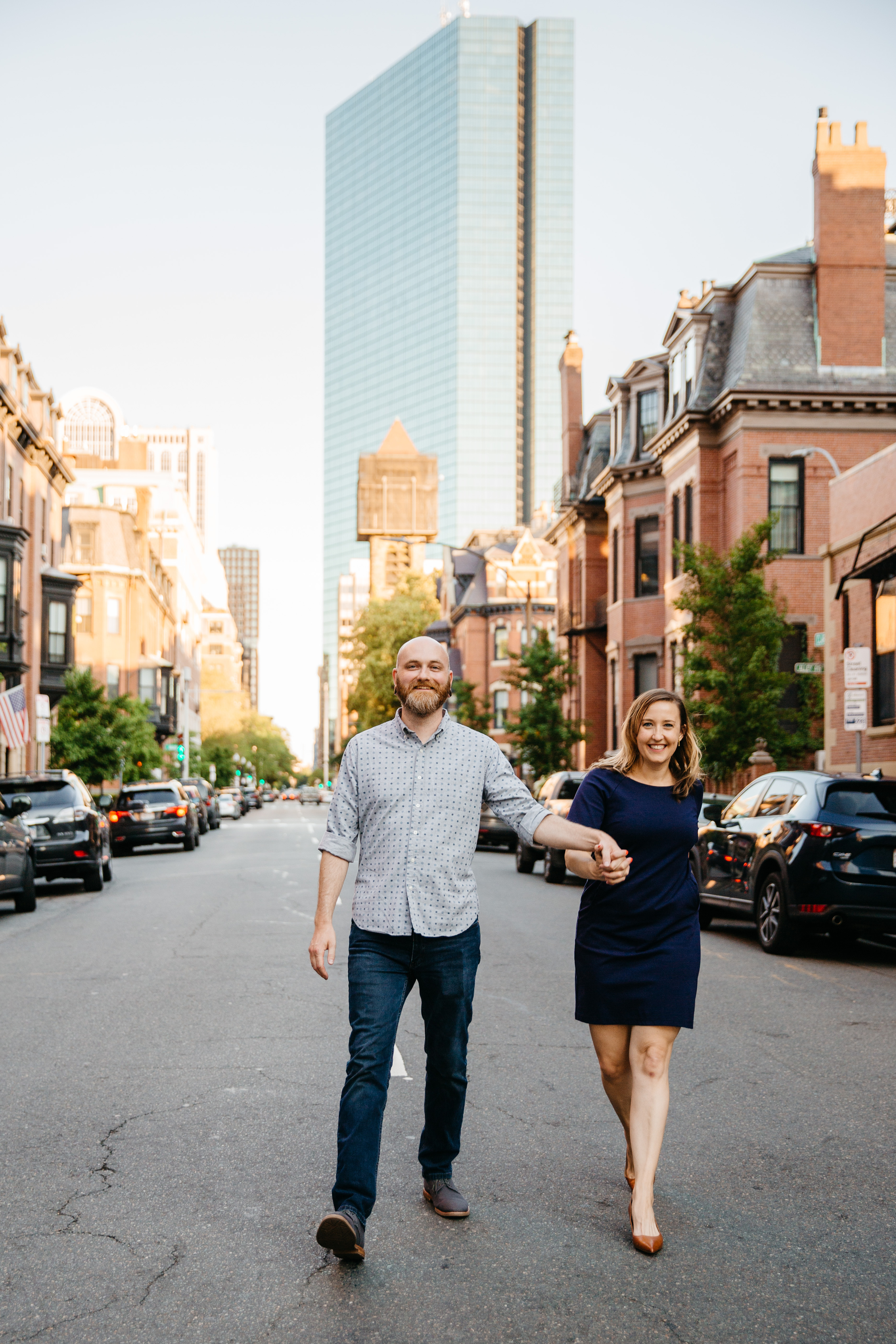 boston engagement session in back bay with views of the john hancock building