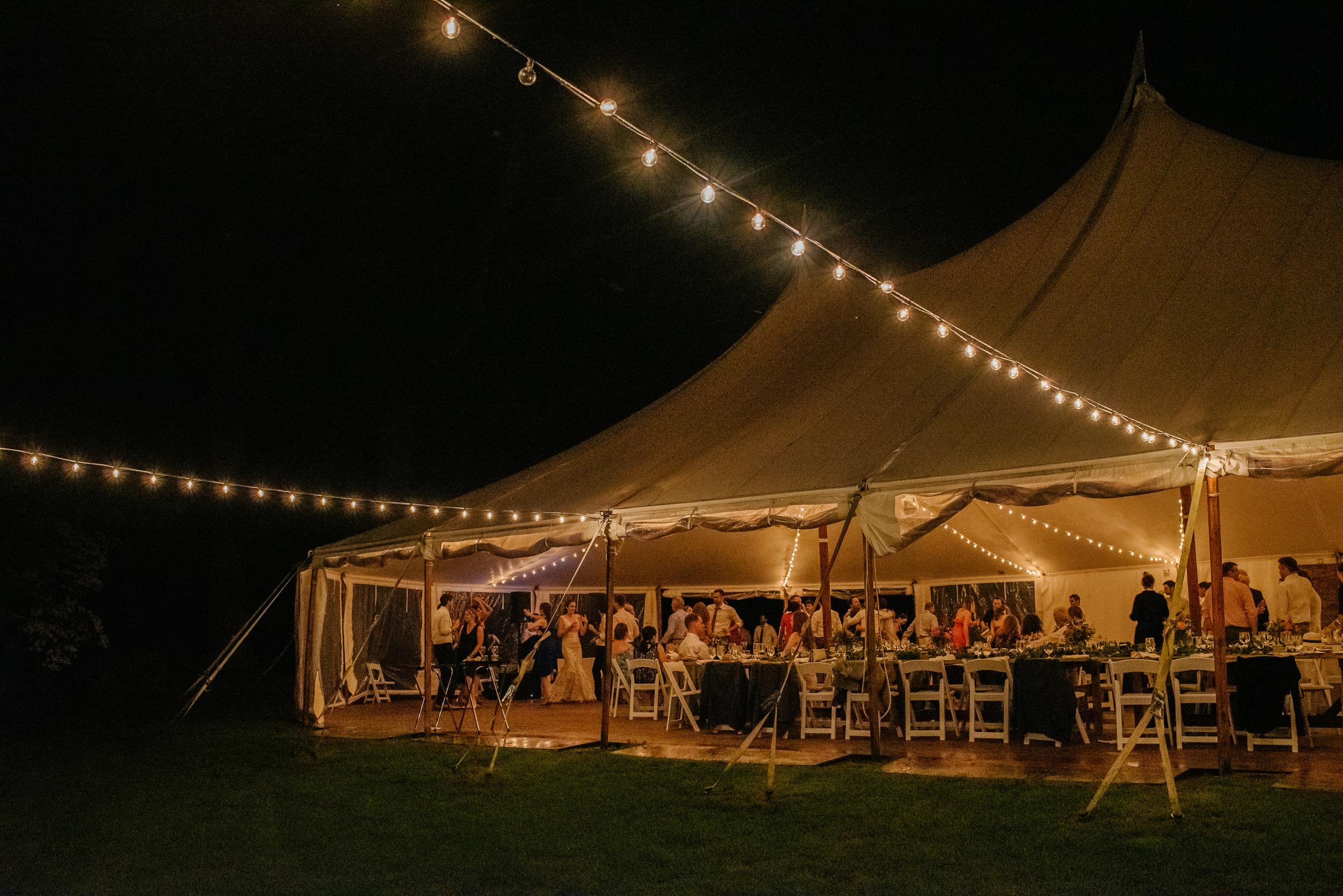 The Estate at Moraine Farm wedding venue at night