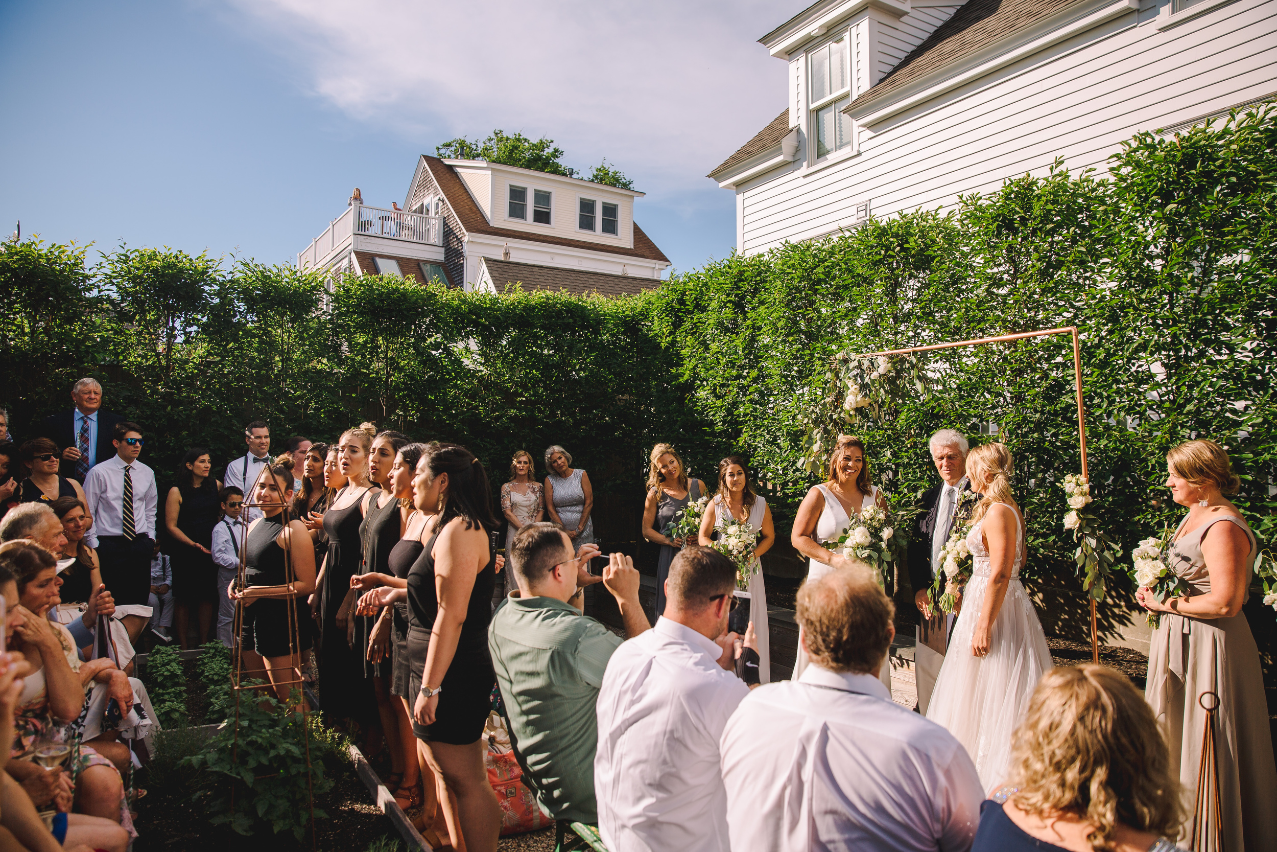 STRANGERS & saints back patio for wedding ceremony in provincetown