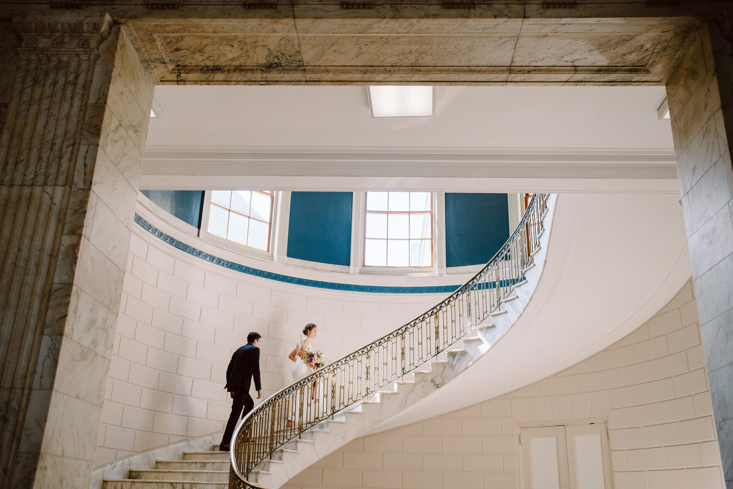 inside the portland maine city hall with spiral stairs