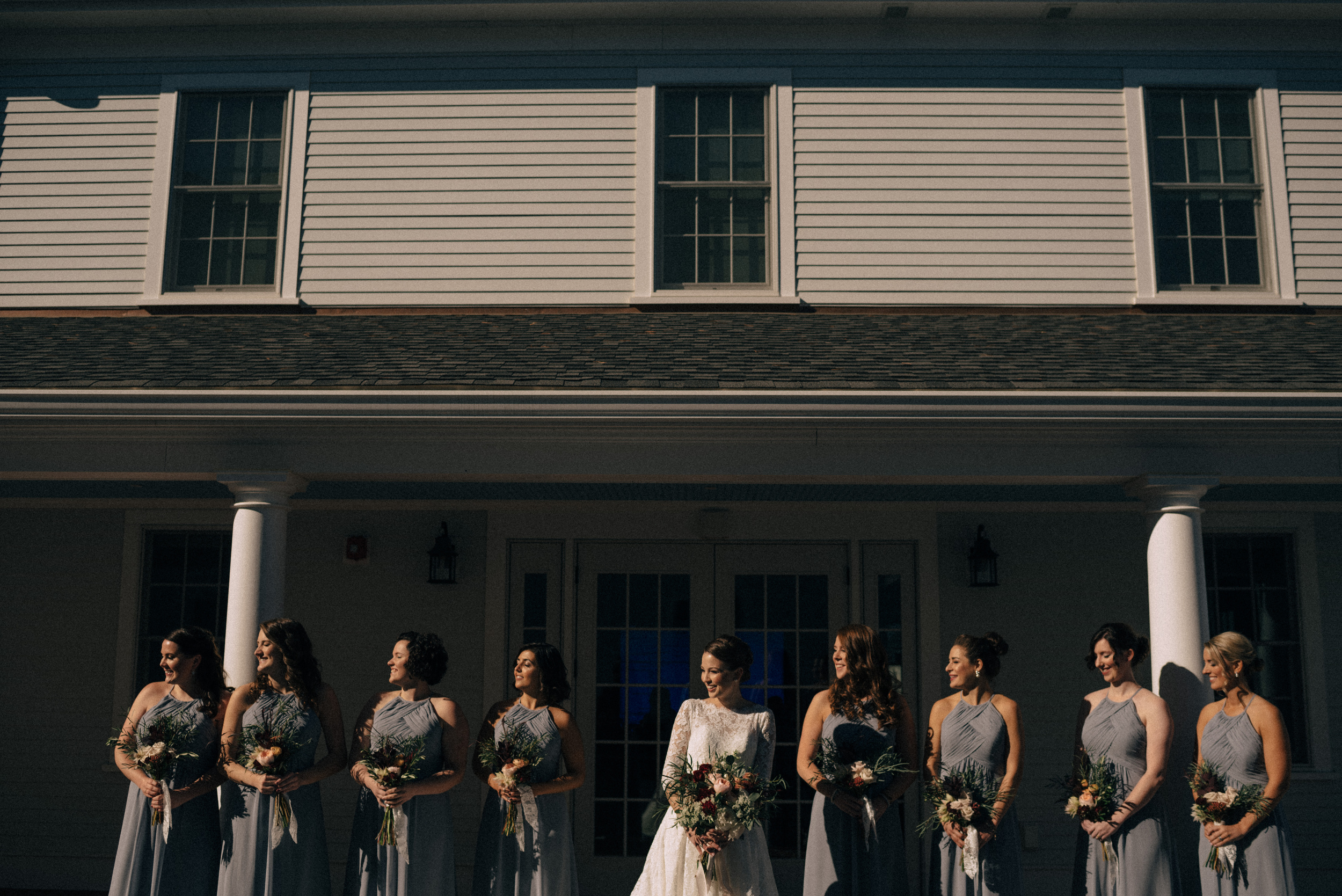 brides maids at the groton inn wedding in the fall
