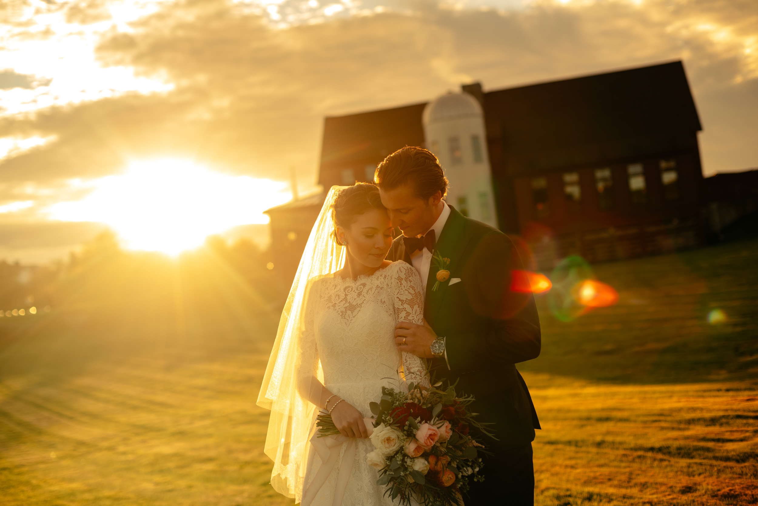 fall sunset wedding photos at gibbet hill for fall weddings and barn venue inspirations