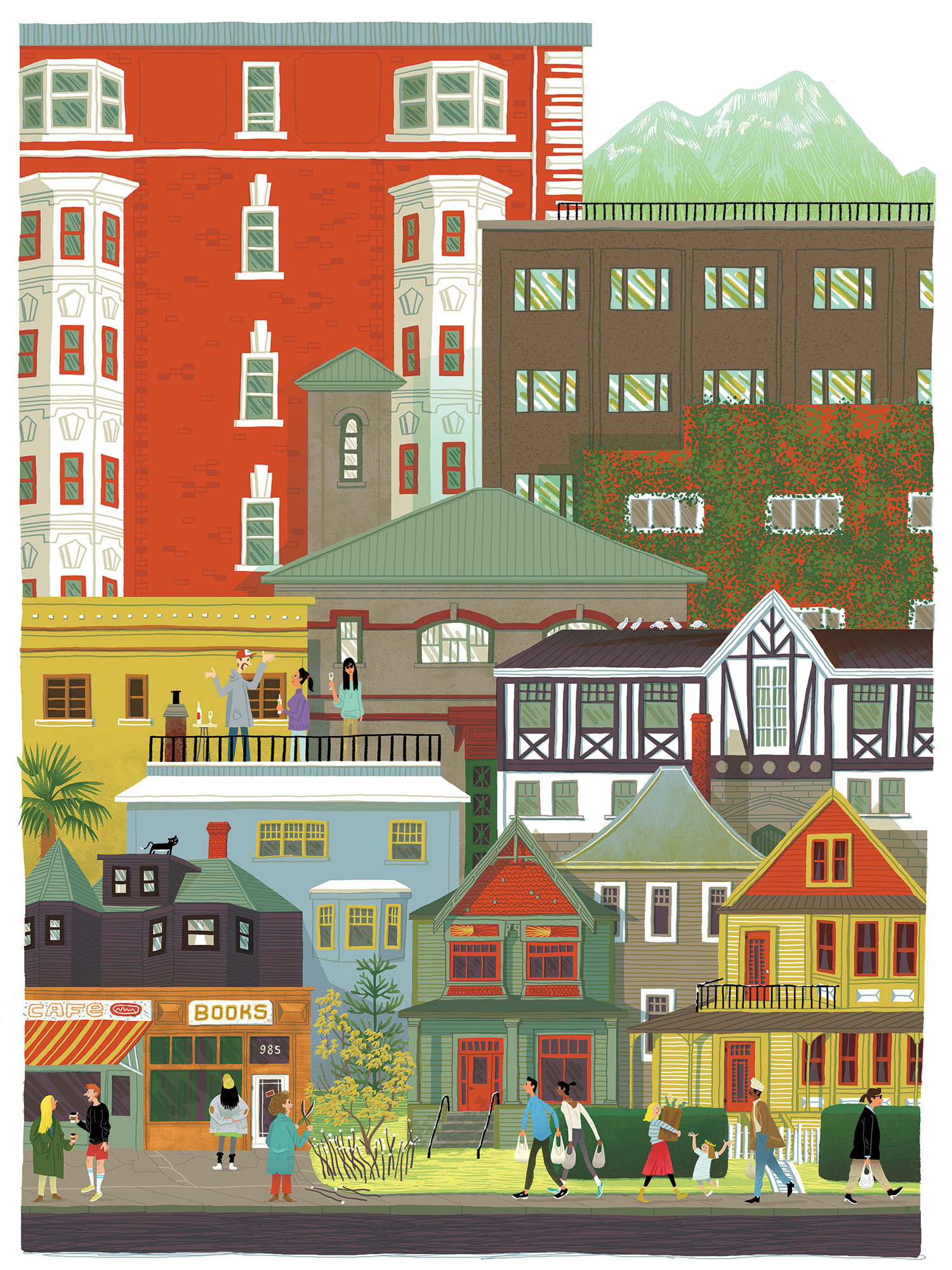 The West End neighbourhood in Vancouver, BC.  Digital illustration.