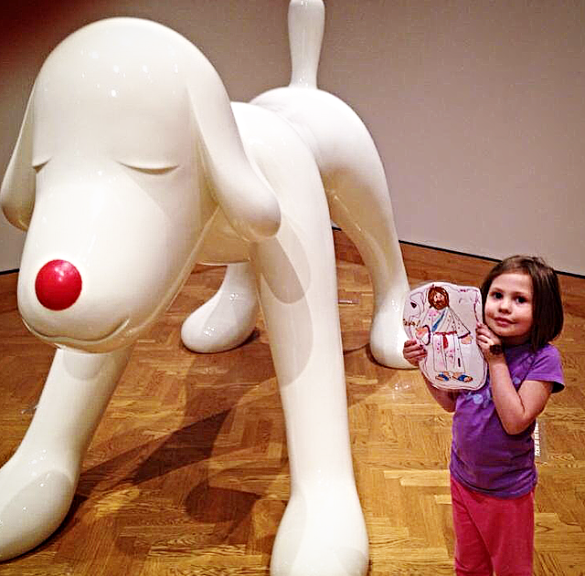 Larger than life, Yoshitomo Nara's sculpture  Your Dog  (2002) embodies the spirit of a child's playmate as well as that of a menacing creature. Flat Jesus is shown here at the Minneapolis Institute of Arts. #eclcflatjesus