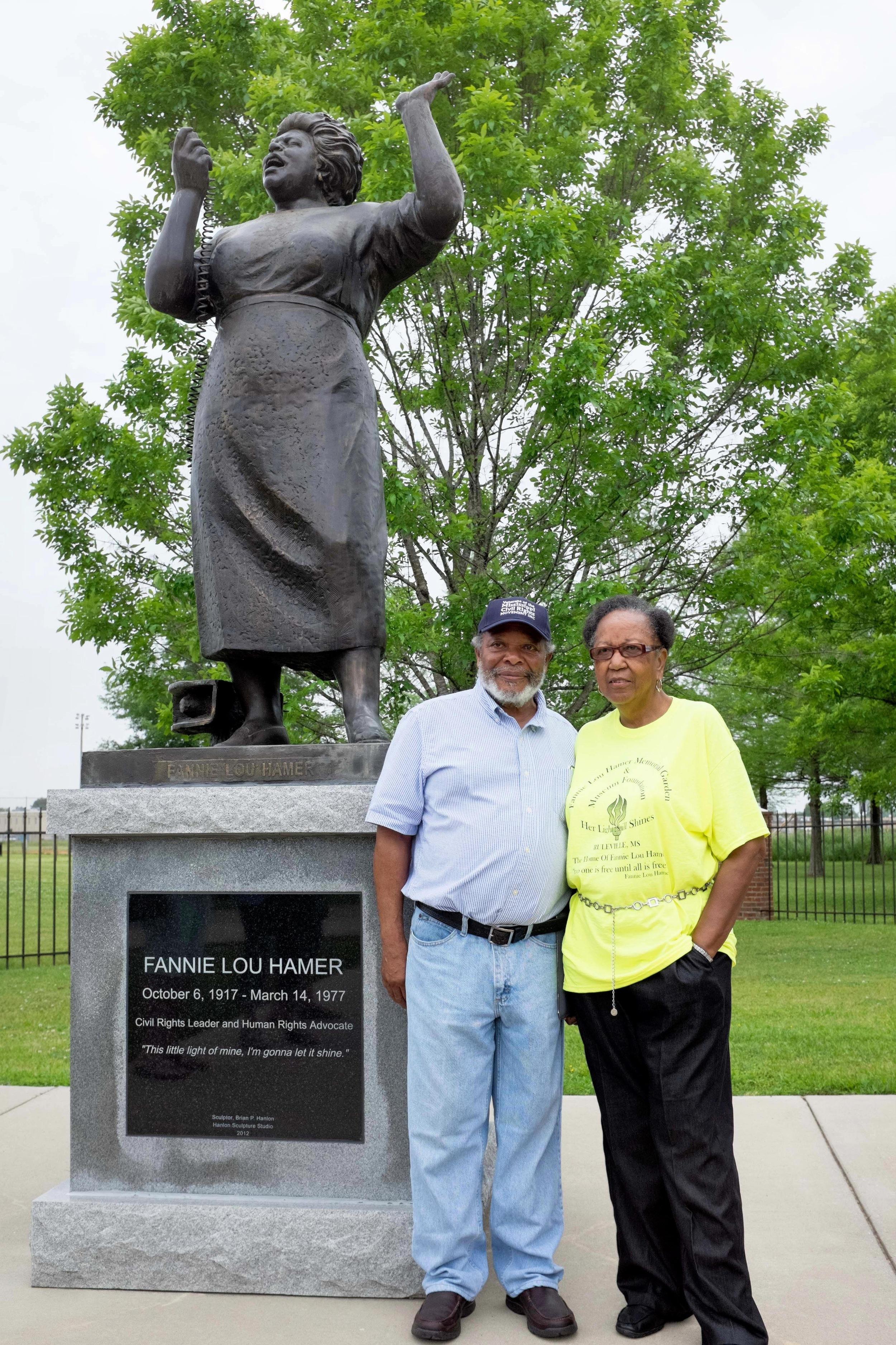 Charles McLaurin & Hattie Jordan with Fannie Lou Hamer Statue.jpg
