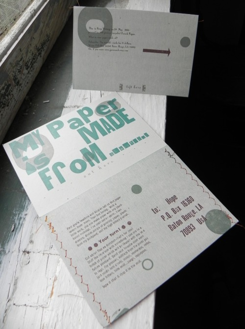 Keep Writing no 29, 41/2 x 6 inches when closed, letterpress and woodblock. Tear away post card creates envelope for recipient to return something to be included in a batch of paper.