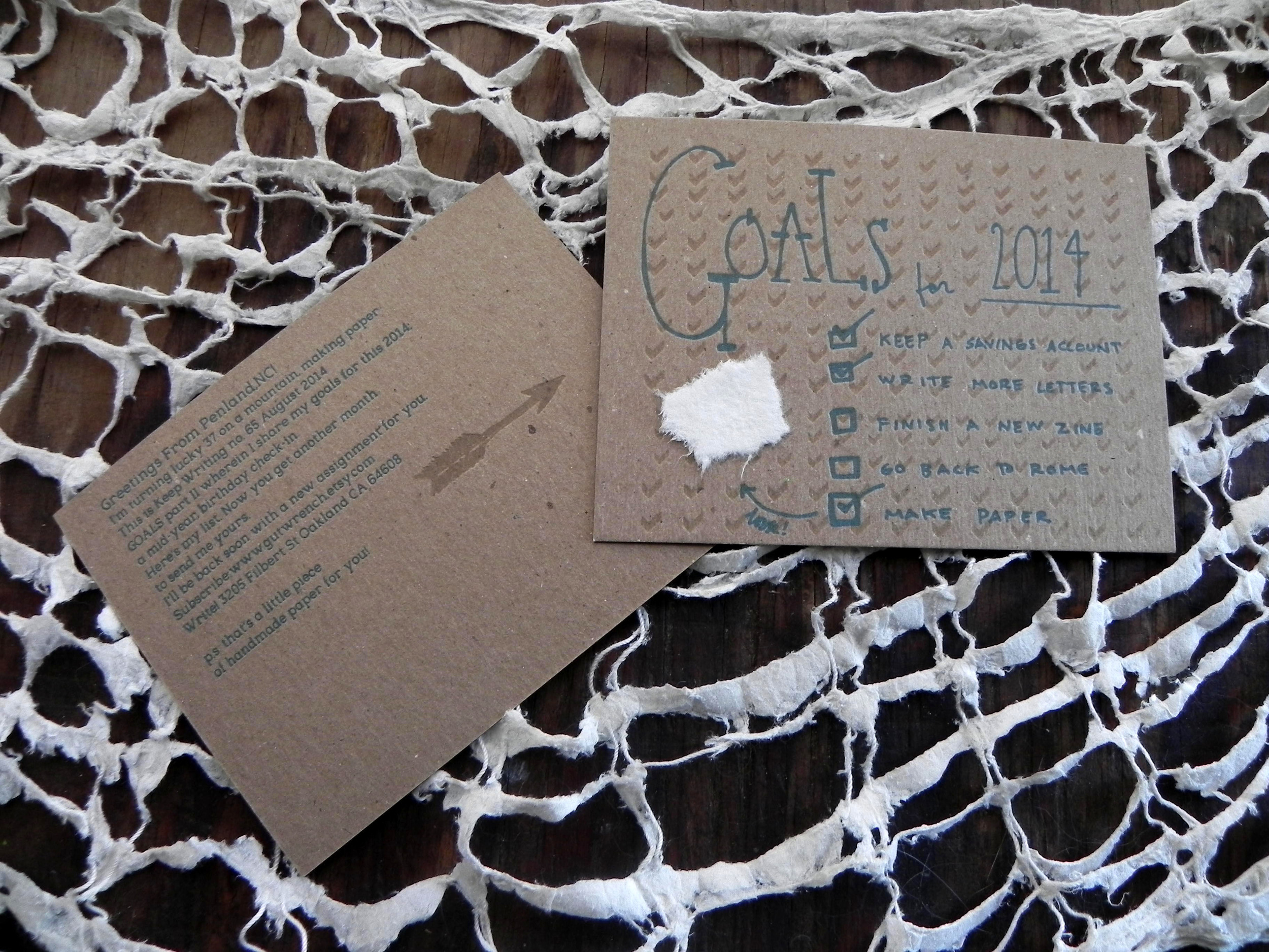 Keep Writing #65 August 2015, Goals part II. Letterpress printed on chipboard, including a scrap of handmade paper, sent from the school of Penland while taking a papermaking workshop. My goals for 2014 are listed.