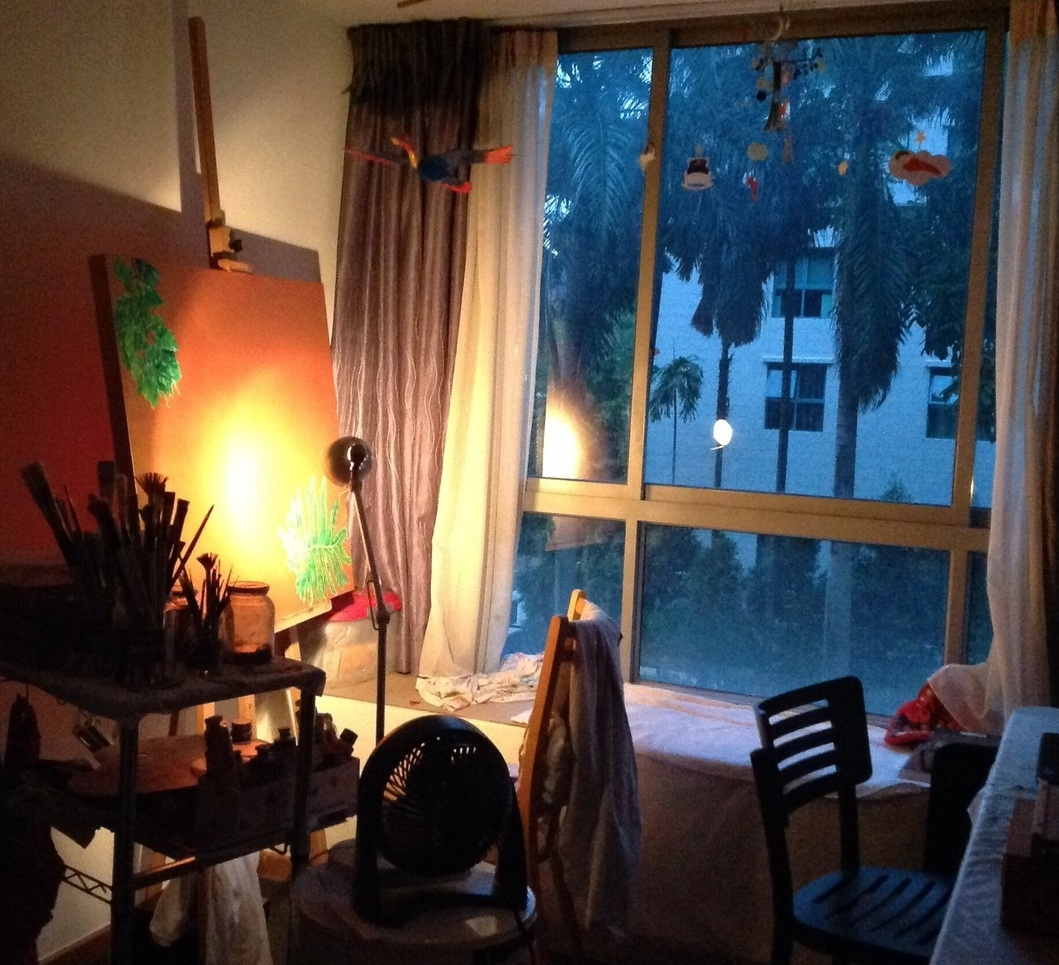 Early morning, in my studio in Singapore. October 2014.