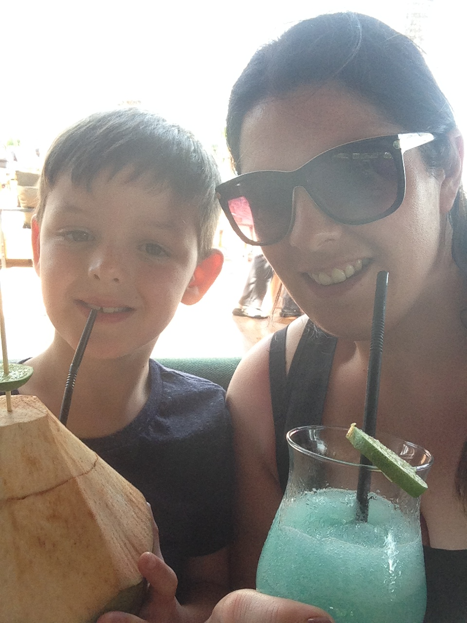 Jack and his coconut. Me and my 'grown up blue drink'