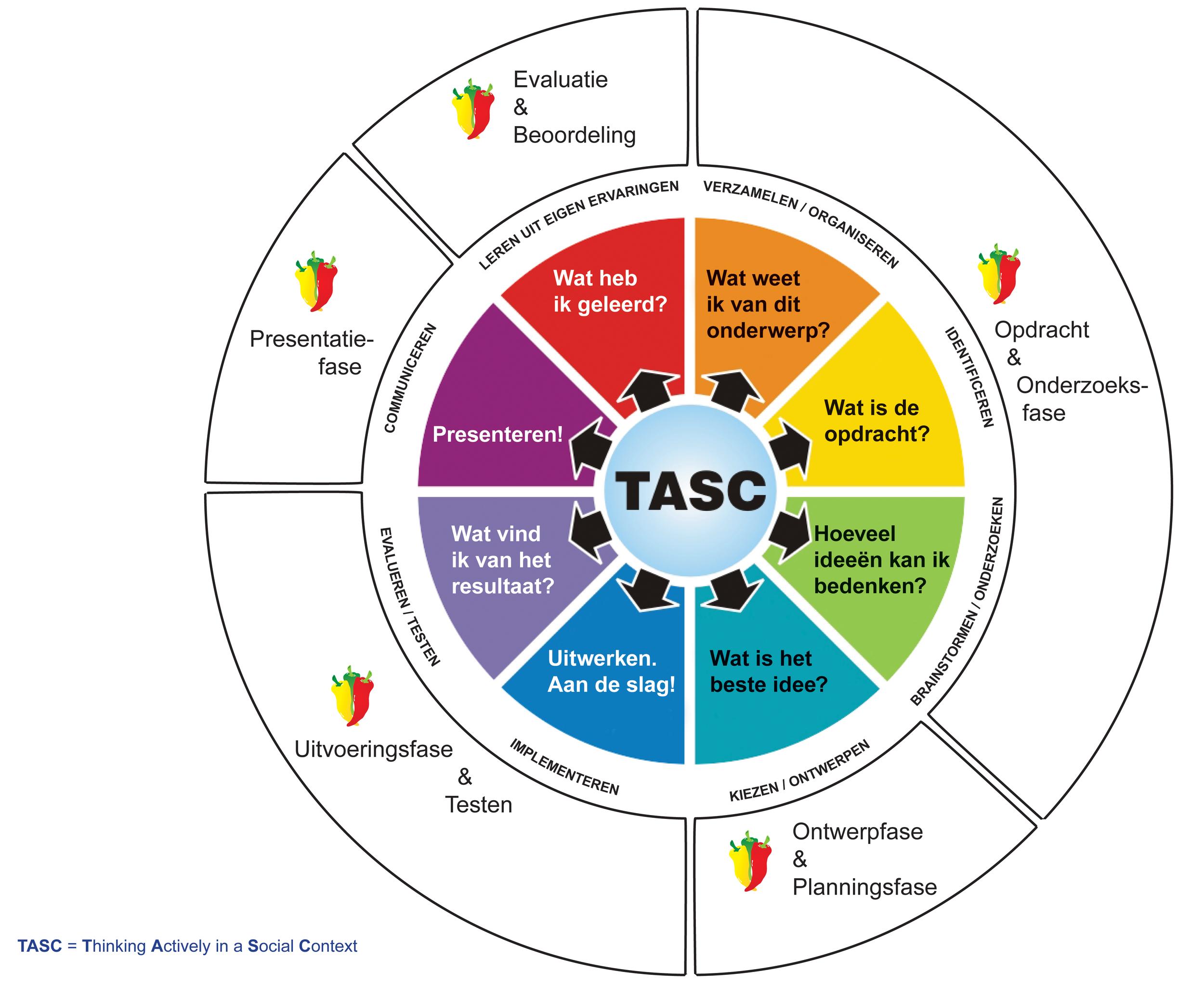 Het TASC-model  ©  is ontwikkeld door Belle Wallace. TASC staat voor voor Thinking Actively in a Social Context. De projecten uit de Pittige Plus Torens werken volgens dit model voor leren-leren.