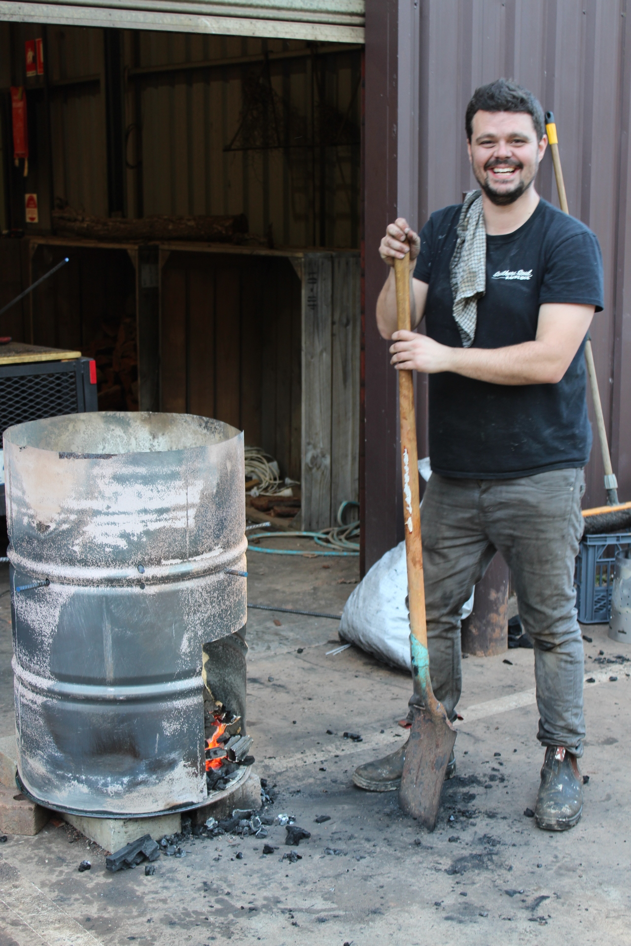 Martin looking pretty chuffed with the burn barrel he built.