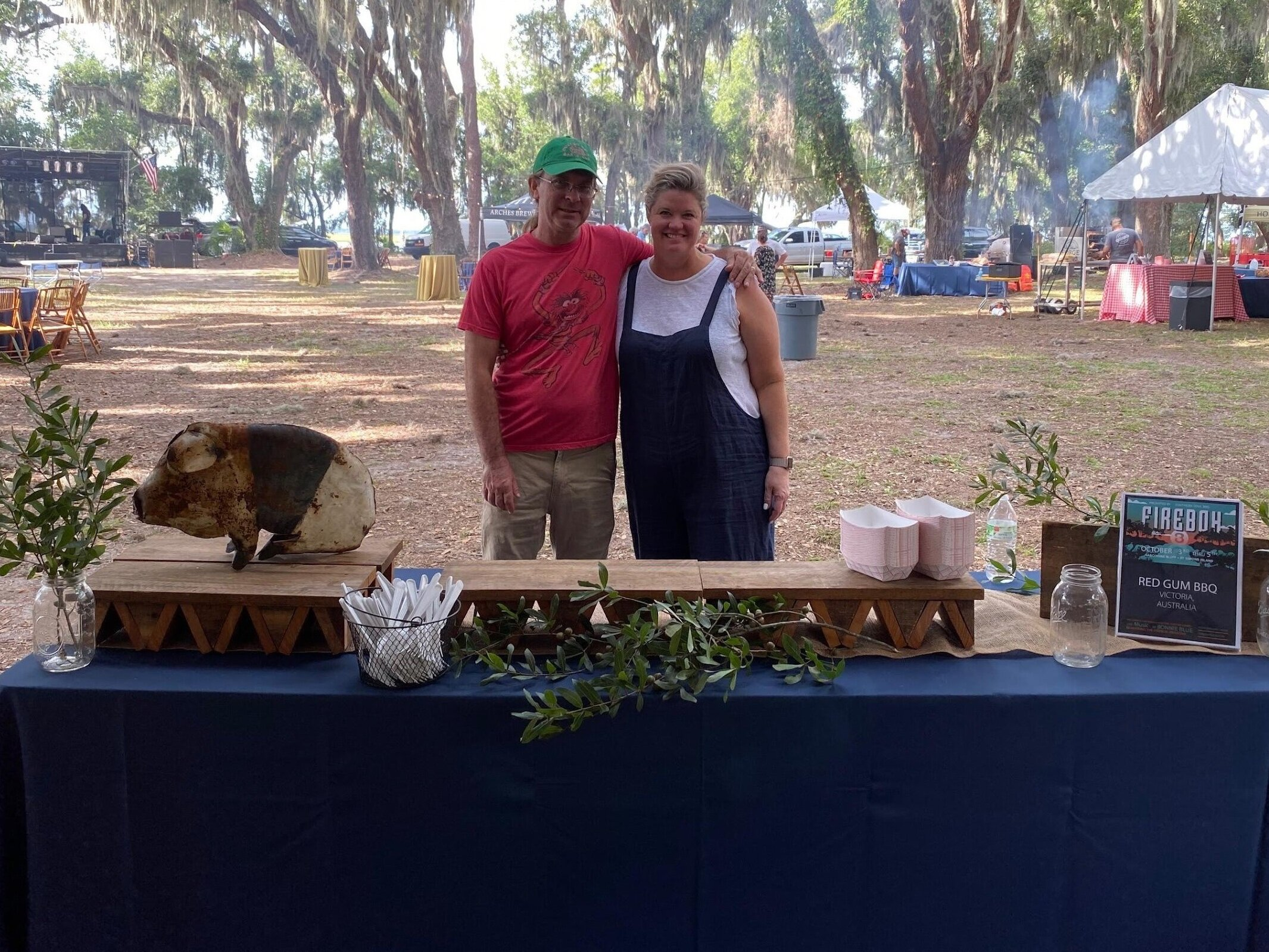 I am always amazed how Melissa came make our BBQ stands so beautiful.  Harrison  and Melissa taking it all in.
